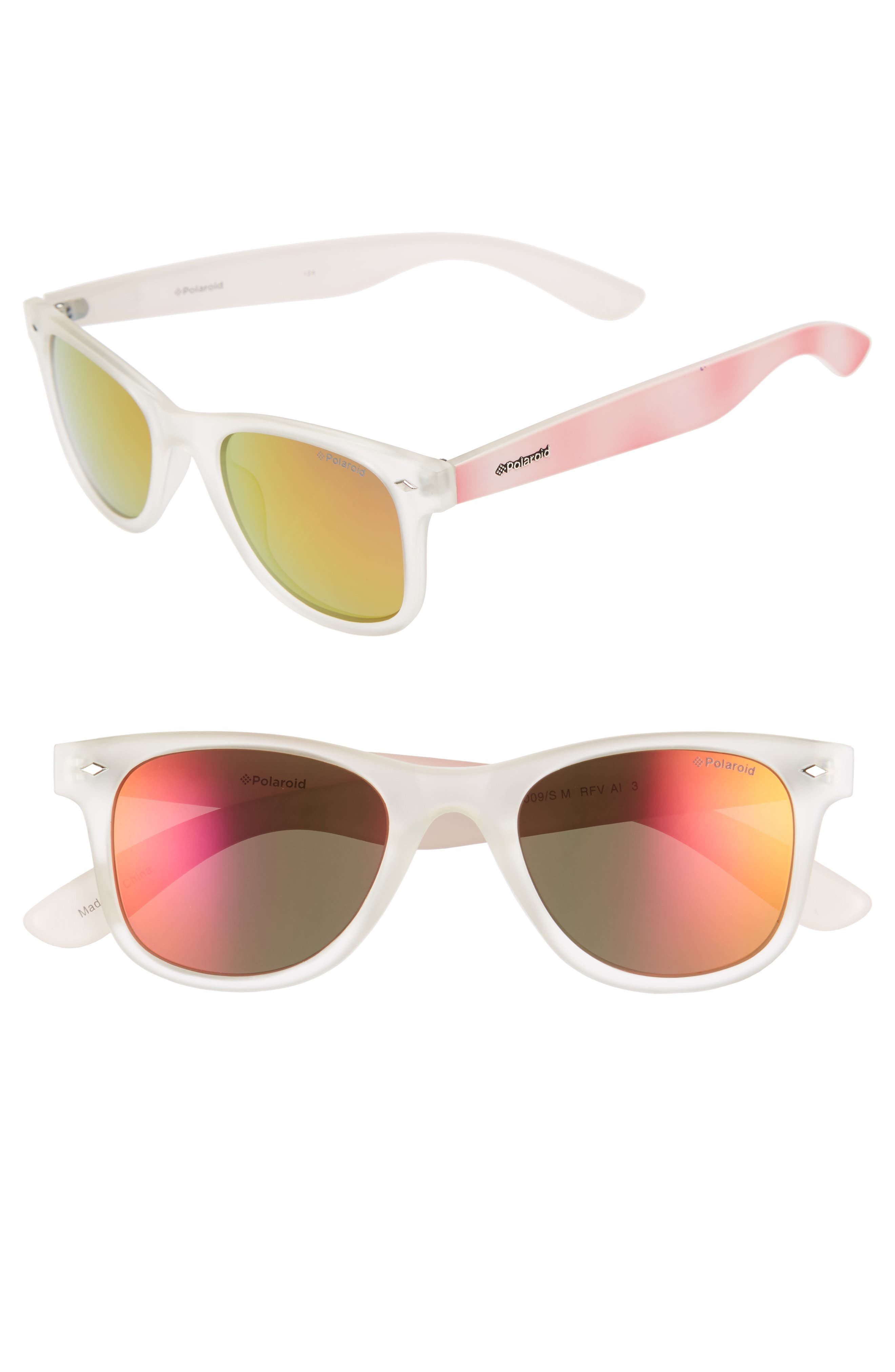 50mm Polarized Sunglasses,                             Main thumbnail 1, color,                             Bright Pink
