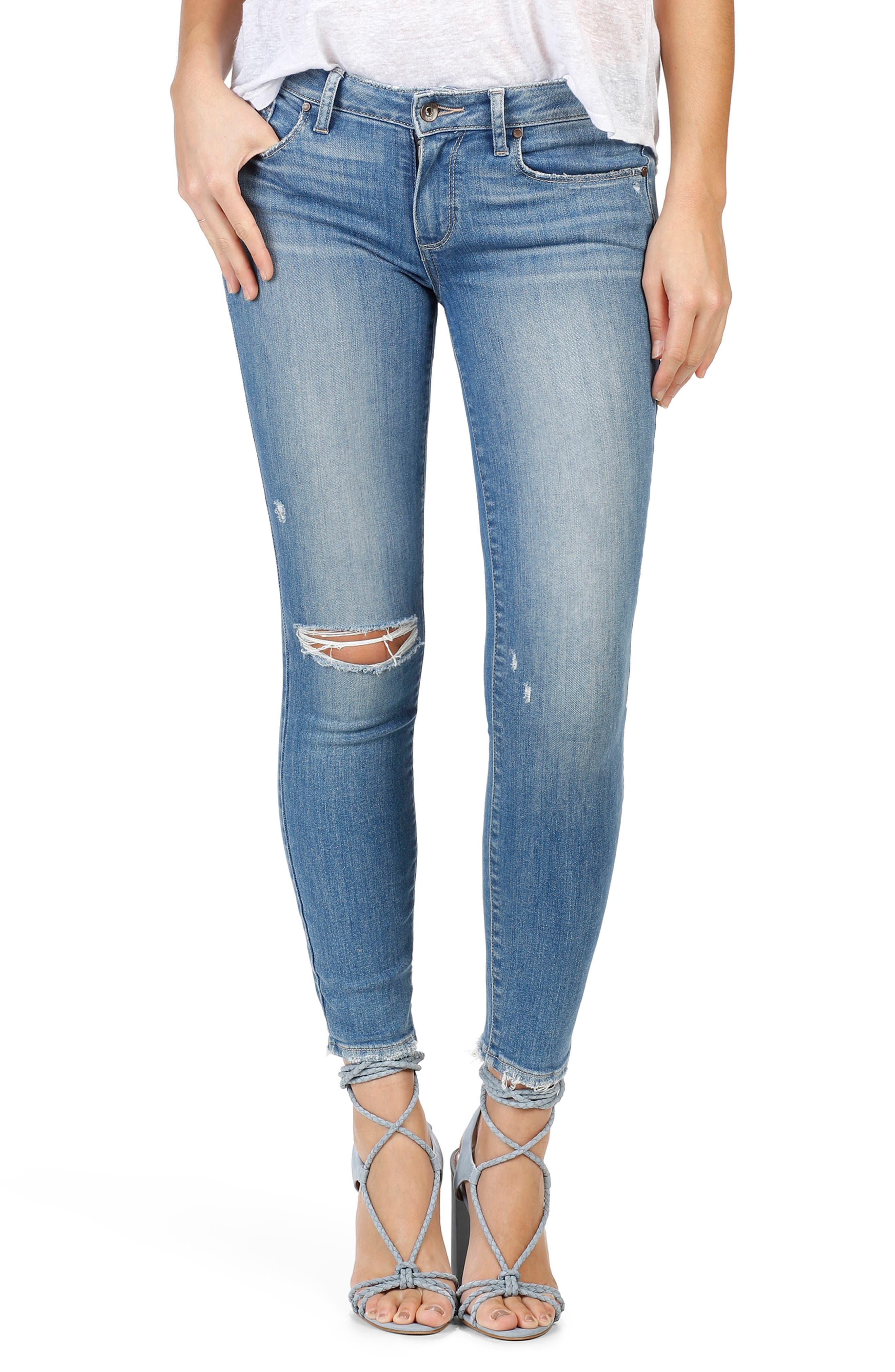 PAIGE Verdugo Ankle Skinny Jeans (Brantley Destructed)