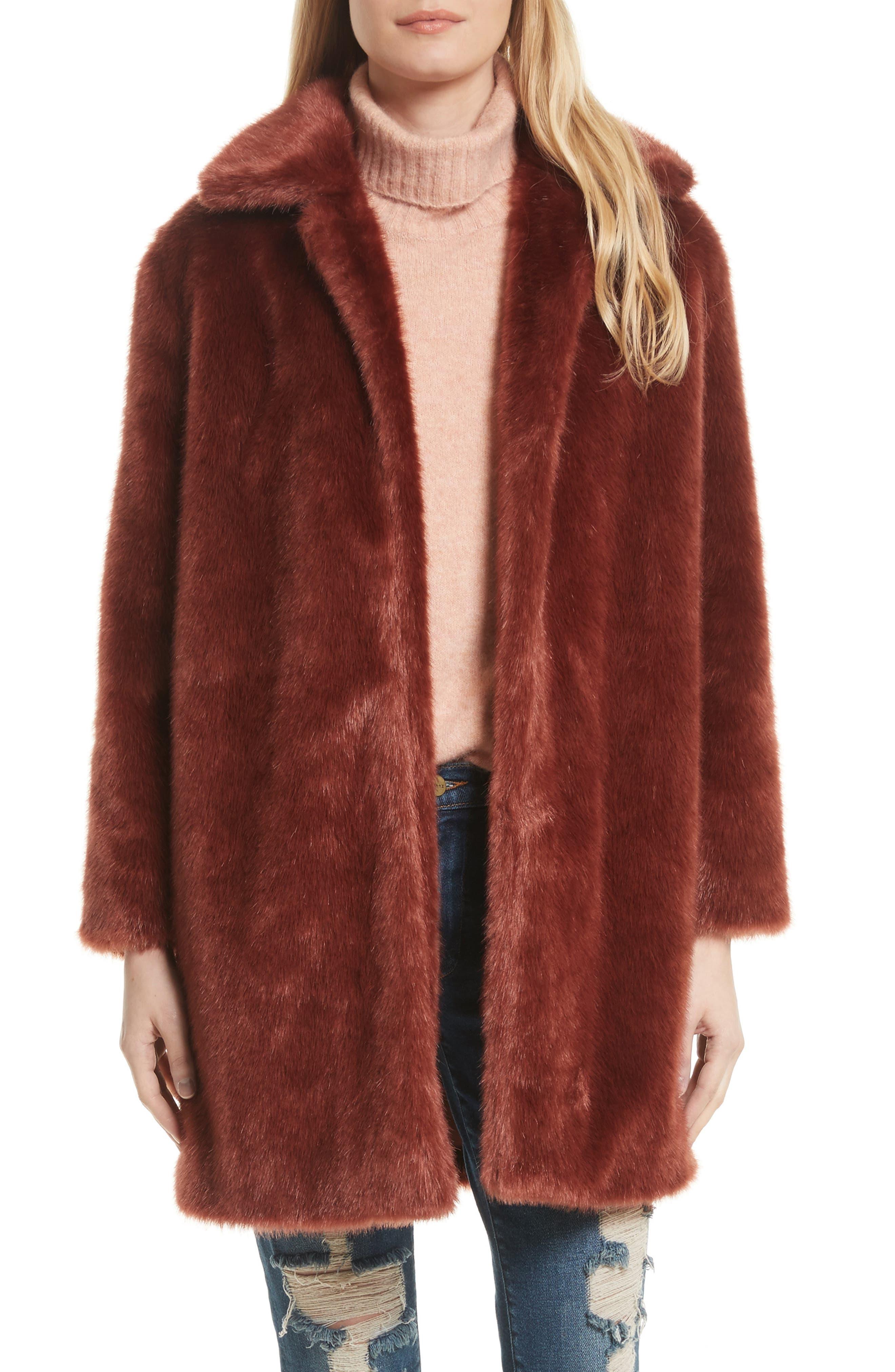Faux Fur Coat,                         Main,                         color, Spice