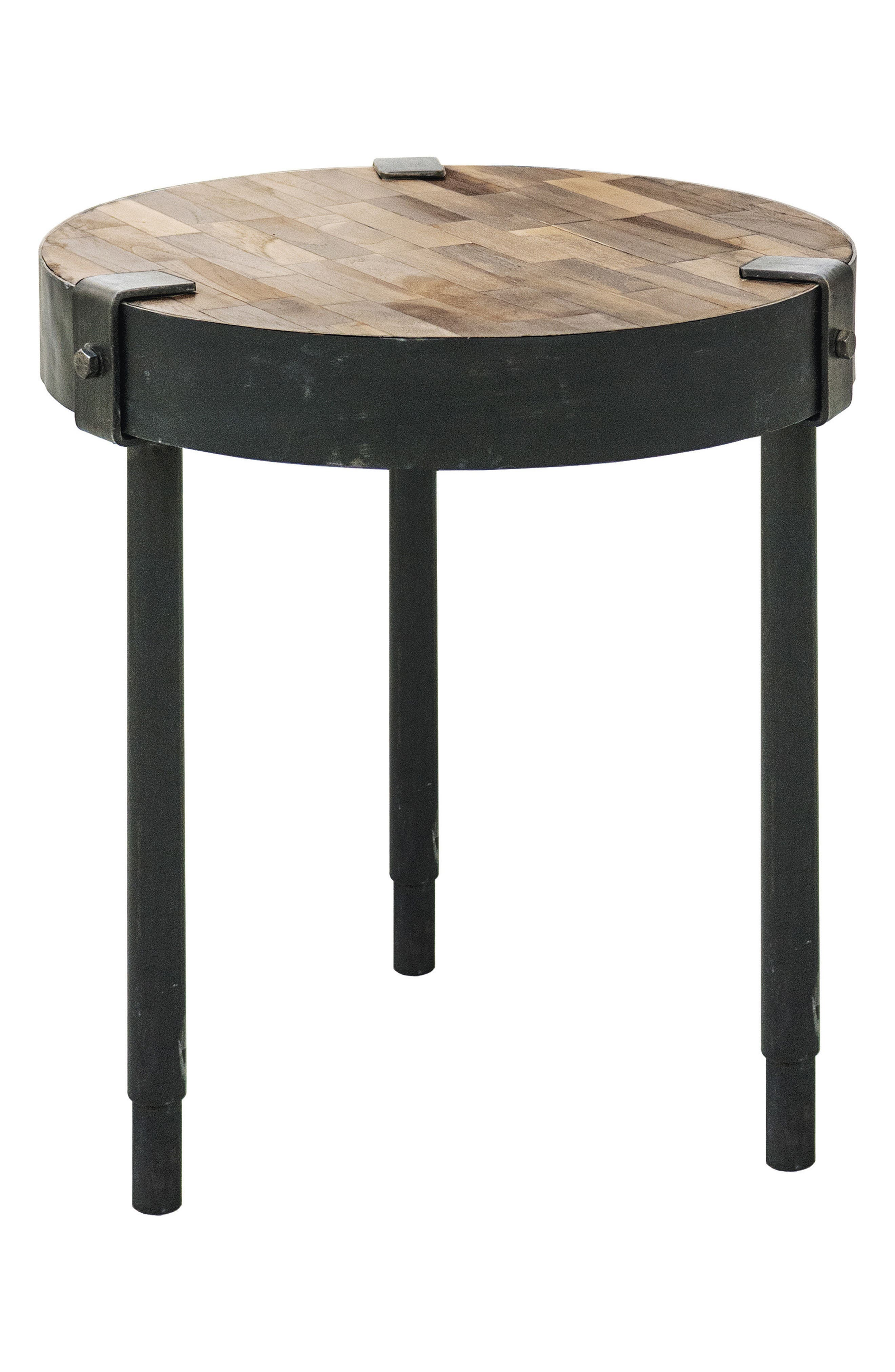 Seebach Metal & Wood Accent Table,                             Main thumbnail 1, color,                             Rusted Metal/ Weathered Wood