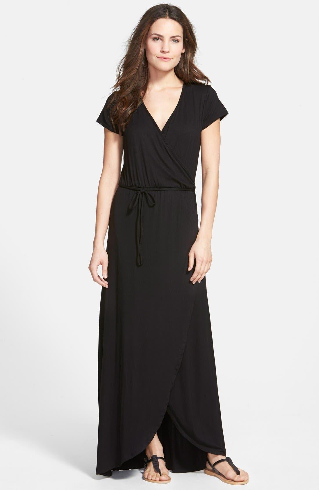 Main Image - Loveappella Cap Sleeve Faux Wrap Jersey Maxi Dress (Regular & Petite)
