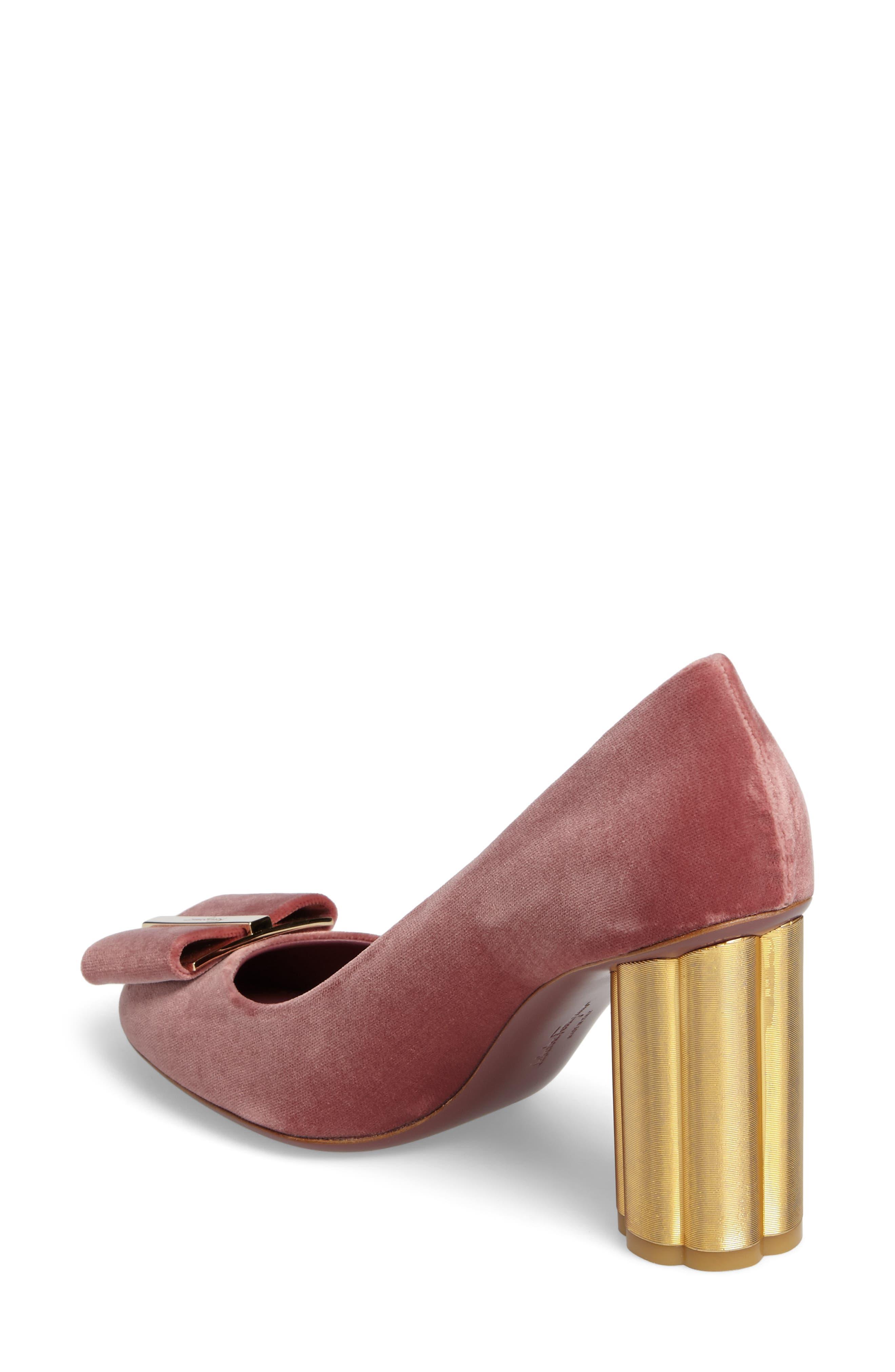 Alternate Image 2  - Salvatore Ferragamo Flower Heel Bow Pump (Women)