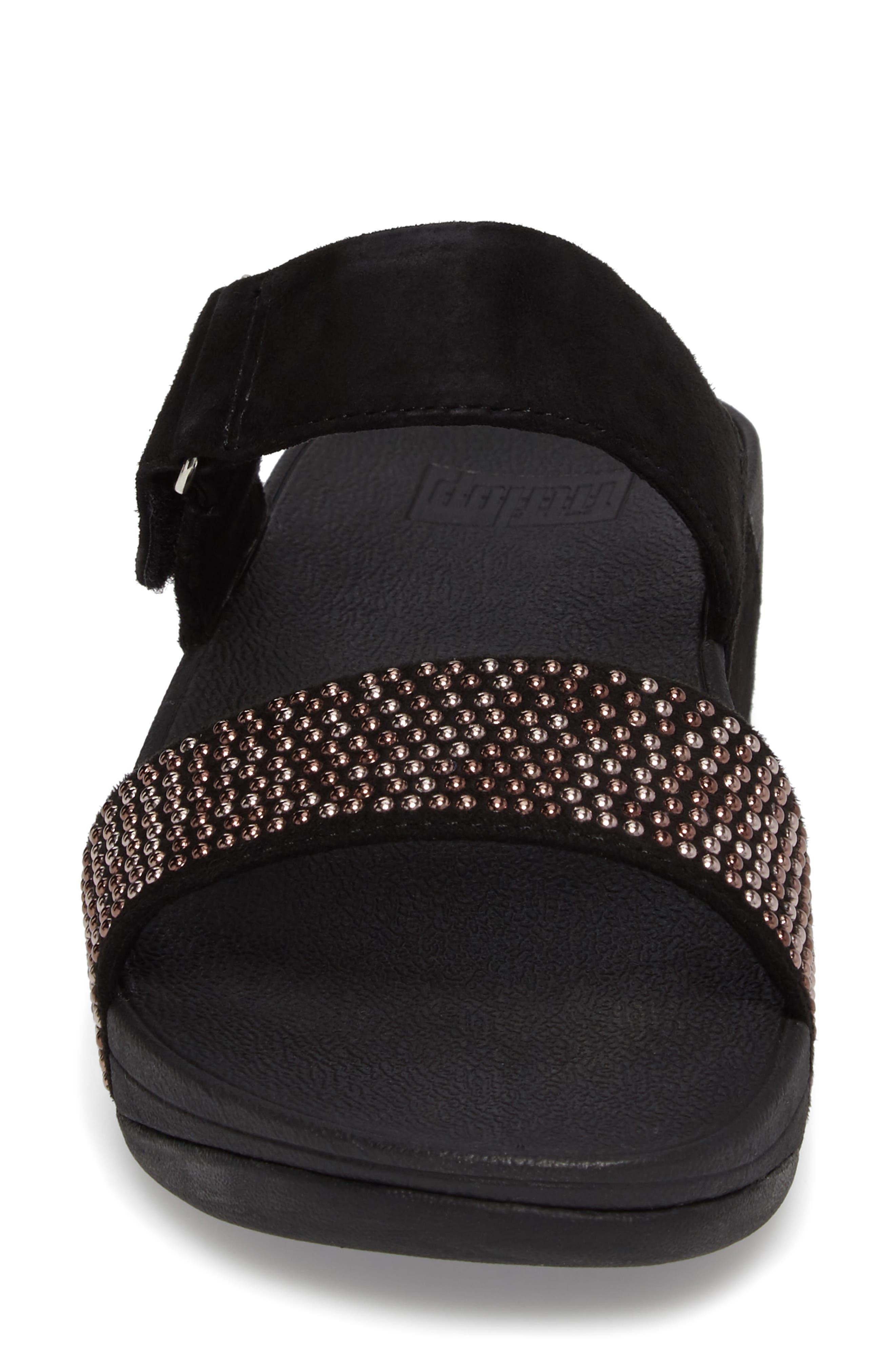 Lulu Popstud Wedge Slide Sandal,                             Alternate thumbnail 4, color,                             Black Fabric