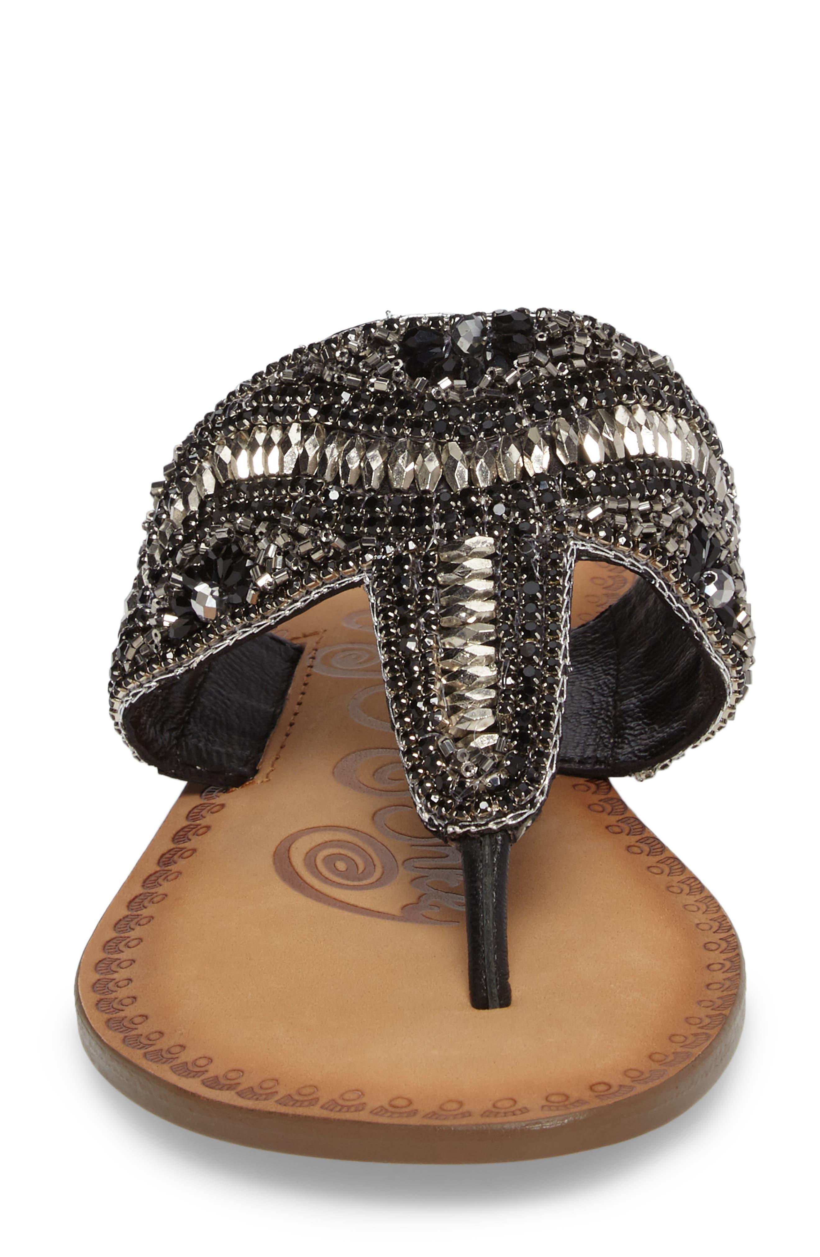 Lizabeth Embellished Sandal,                             Alternate thumbnail 4, color,                             Black Leather