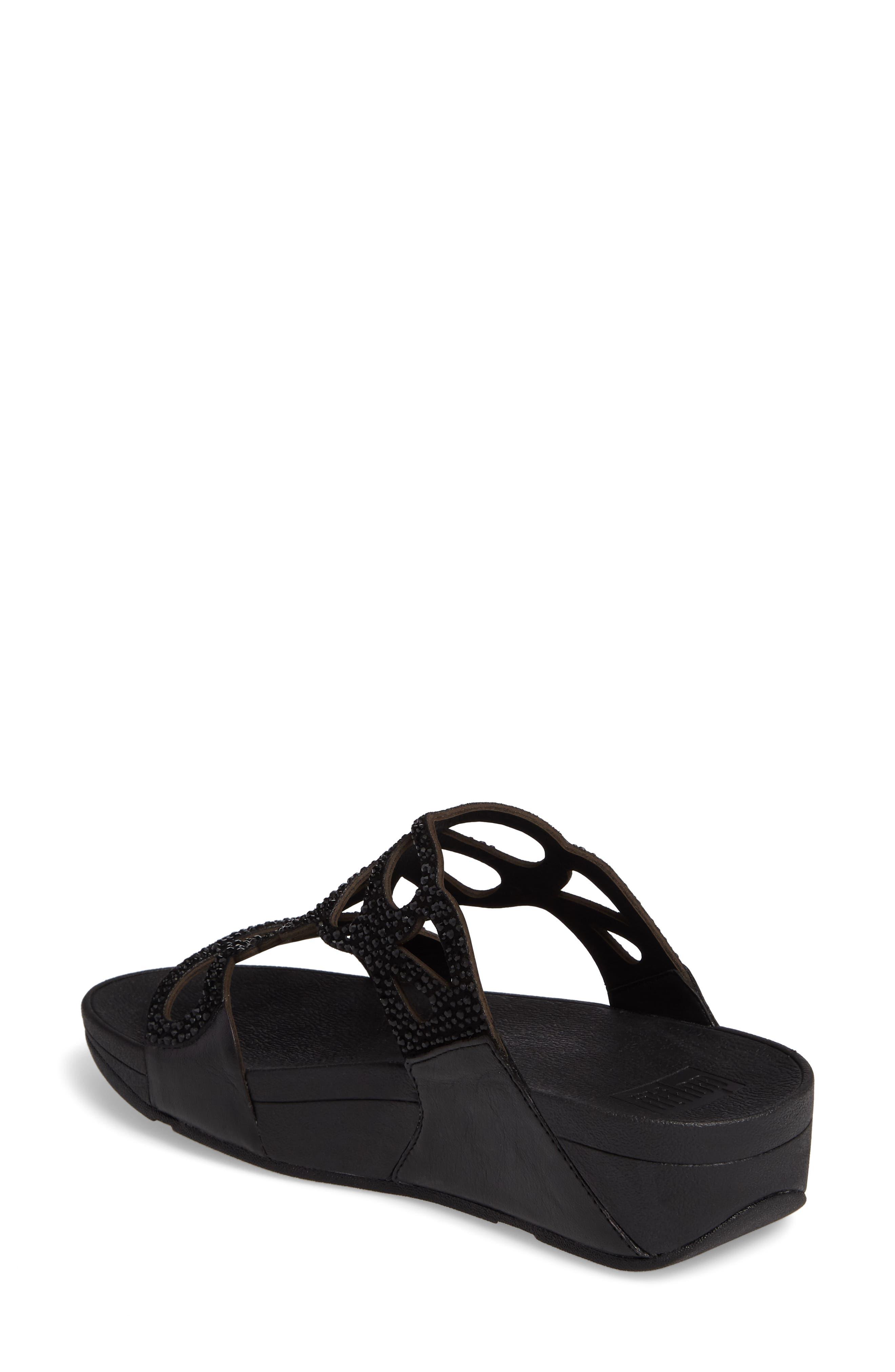 Bumble Wedge Slide Sandal,                             Alternate thumbnail 2, color,                             Black Leather