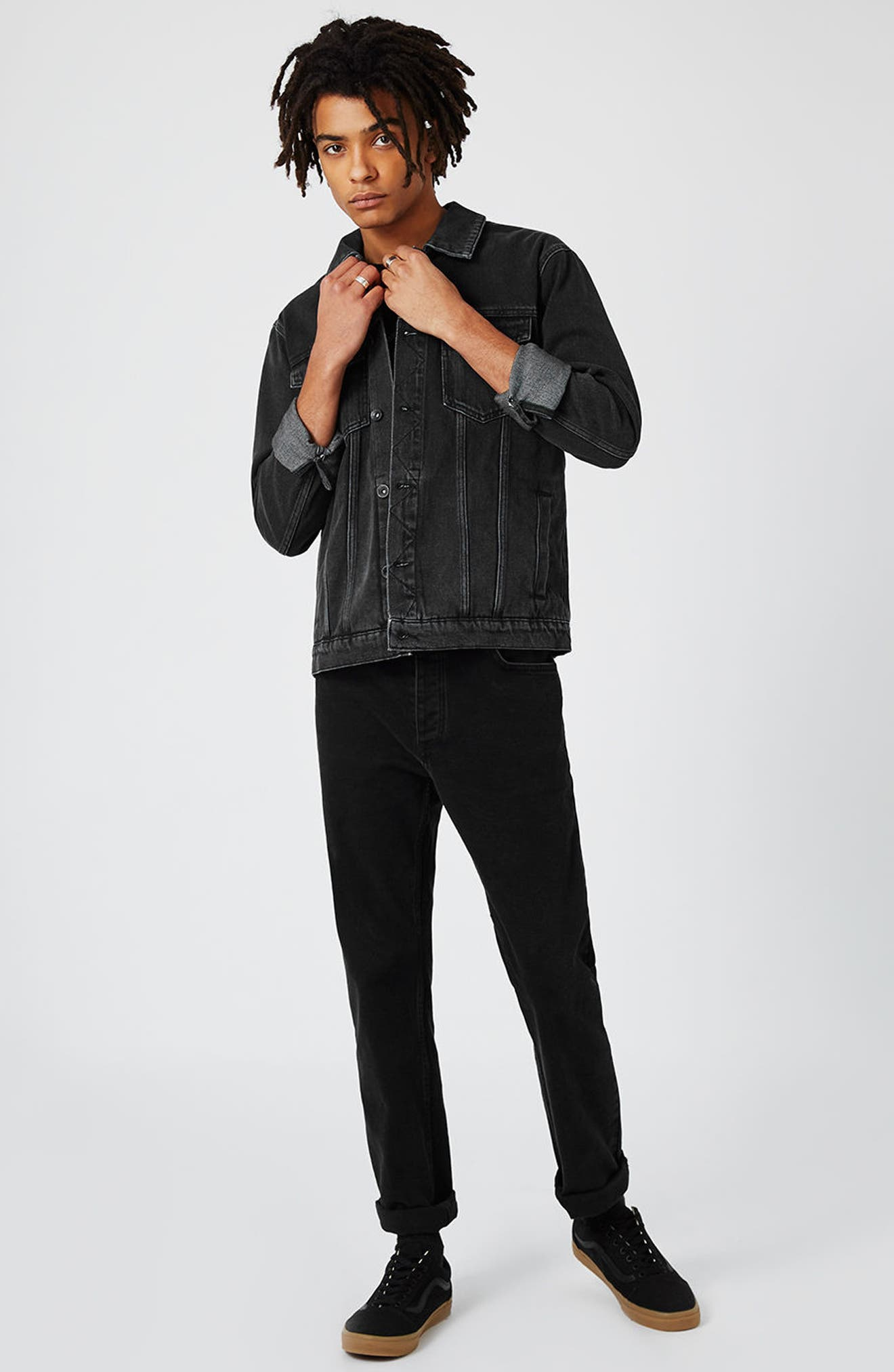 Western Denim Jacket,                             Alternate thumbnail 2, color,                             Black