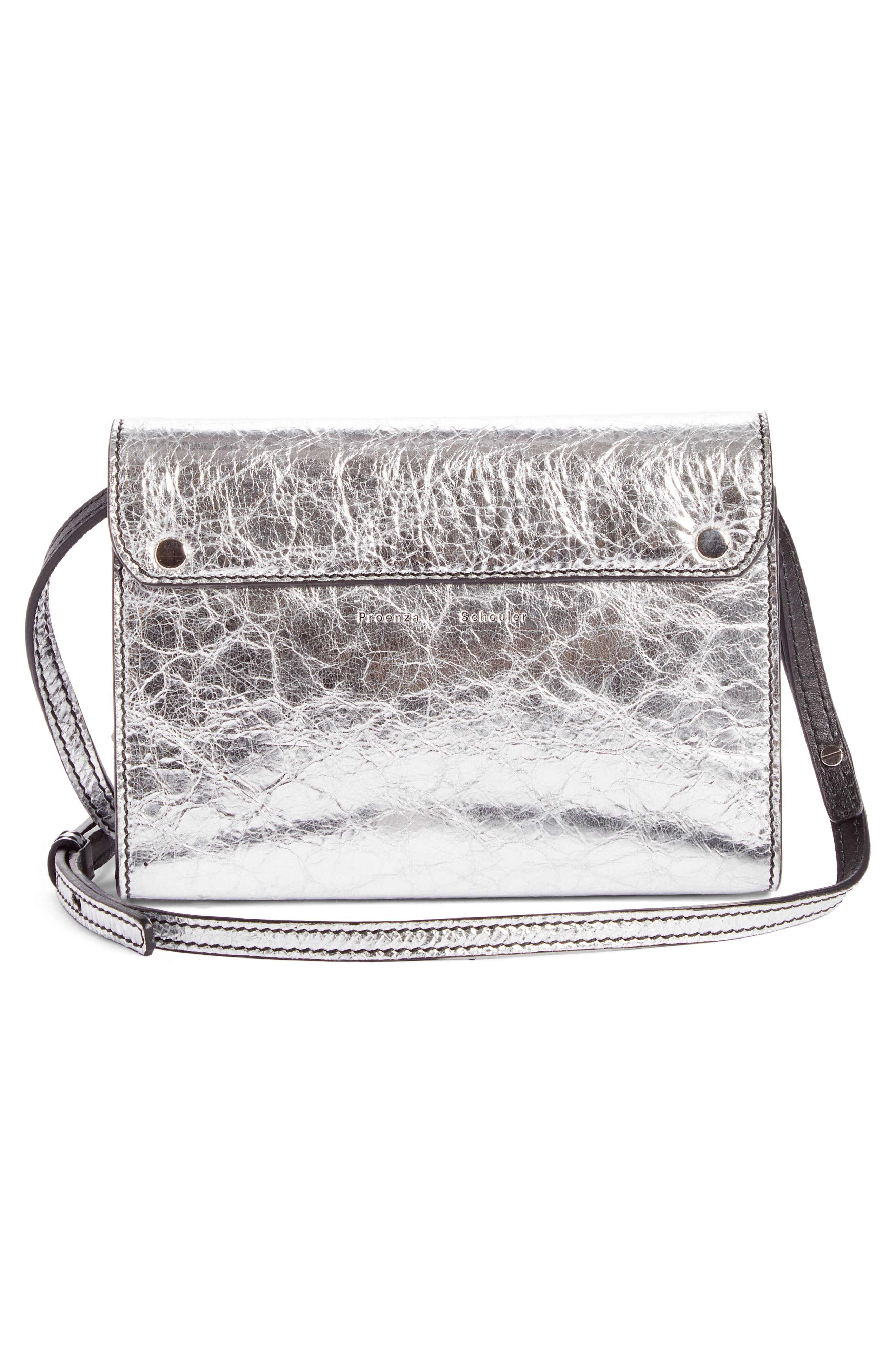 PS11 Leather Crossbody Wallet,                             Alternate thumbnail 3, color,                             Silver