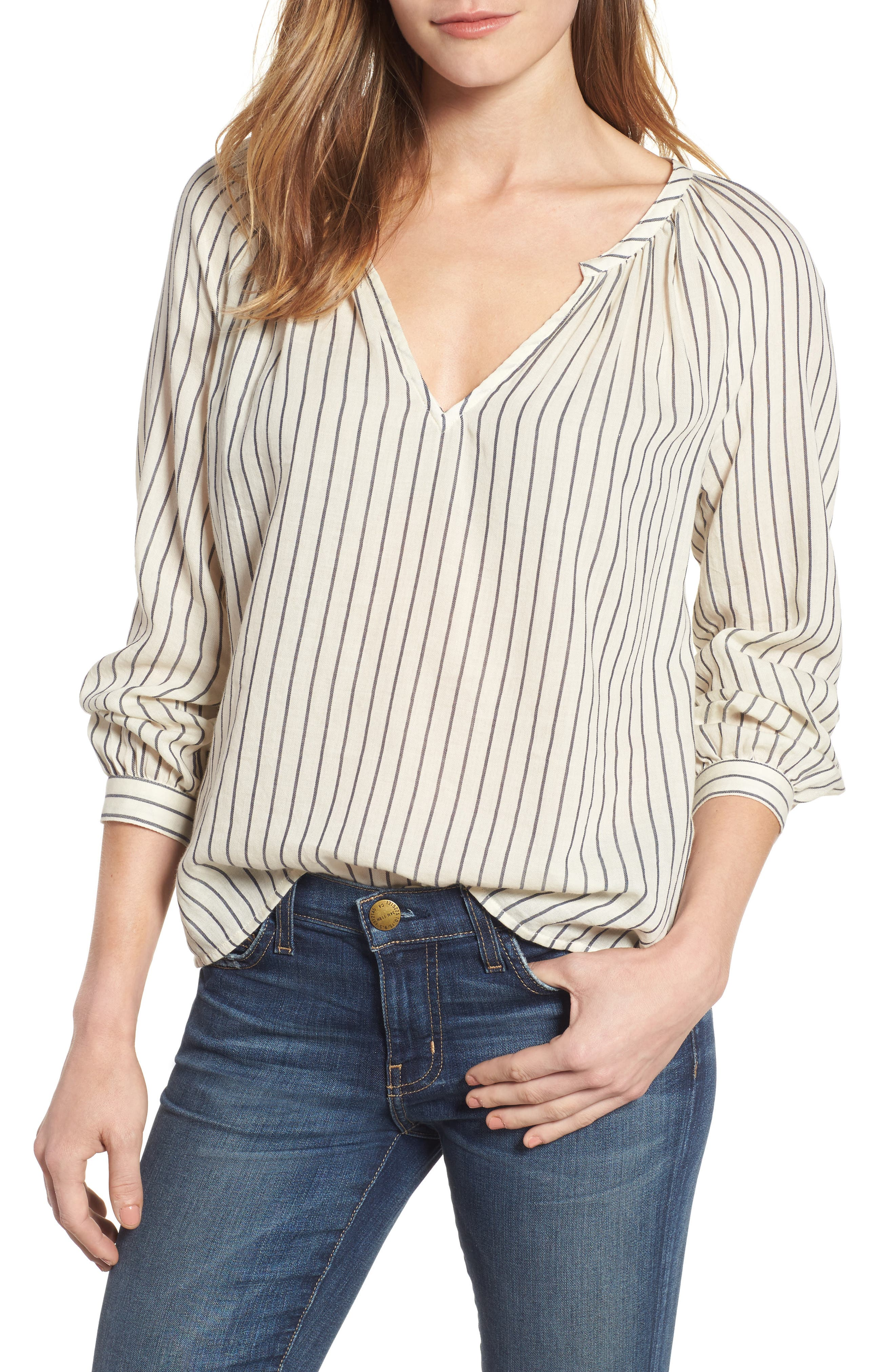 Stripe Peasant Blouse,                         Main,                         color, Black Multi