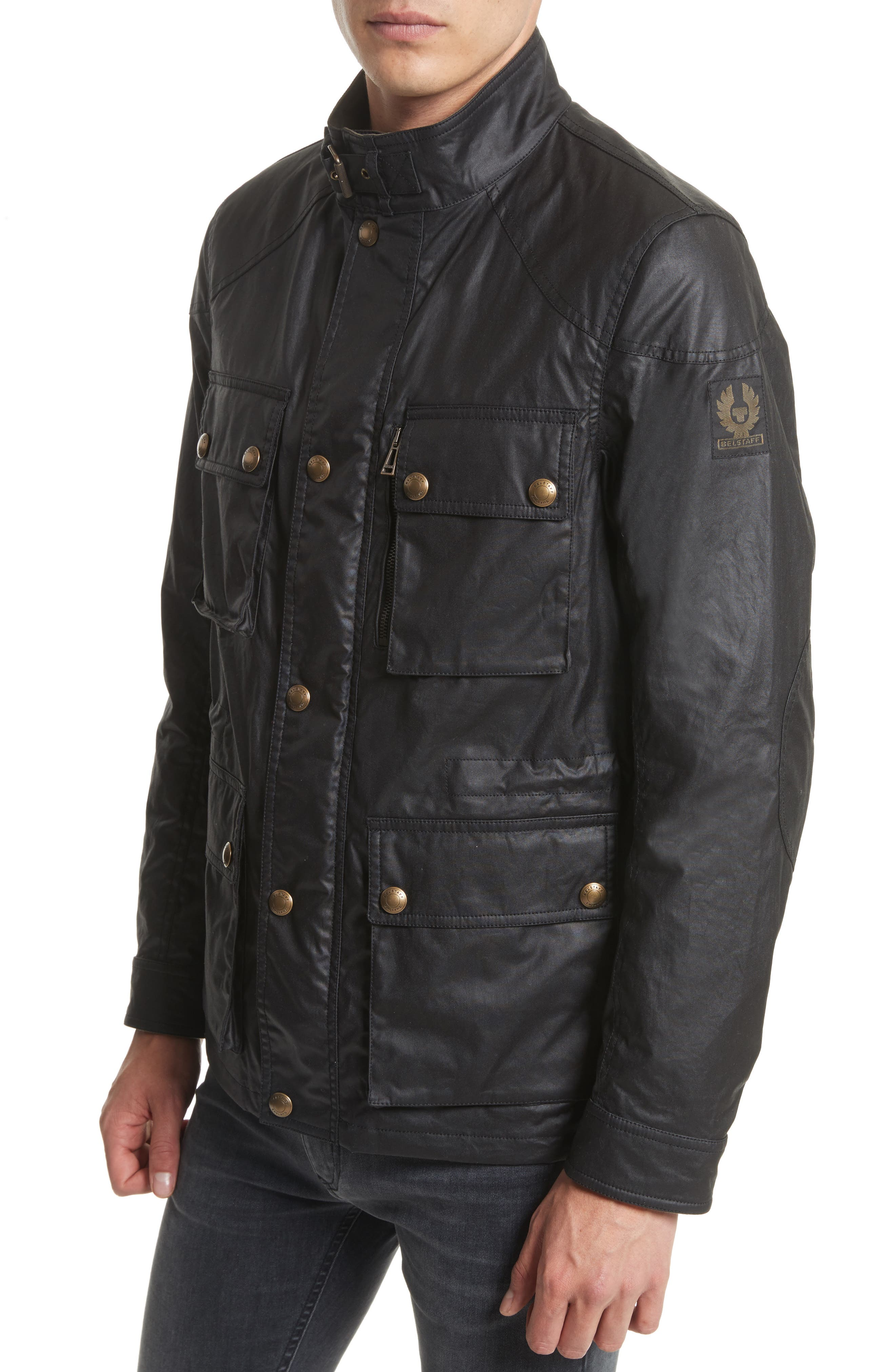 'Trialmaster 2015' Waxed Cotton Jacket,                             Alternate thumbnail 4, color,                             Black