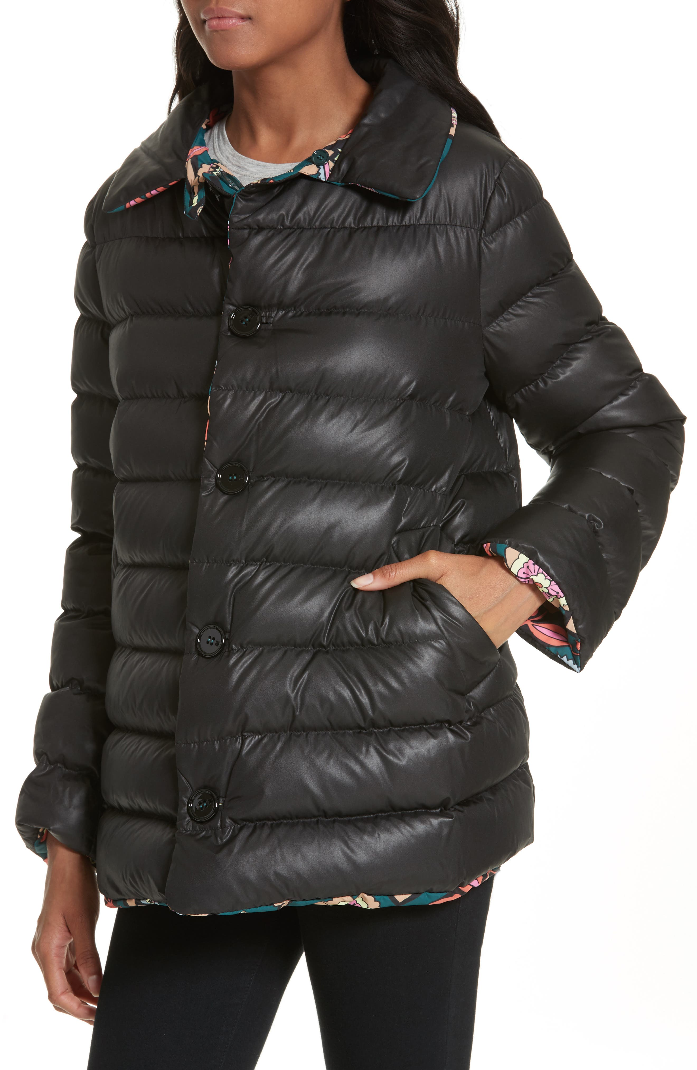 Reversible Printed Puffer Jacket,                             Alternate thumbnail 4, color,                             Emerald