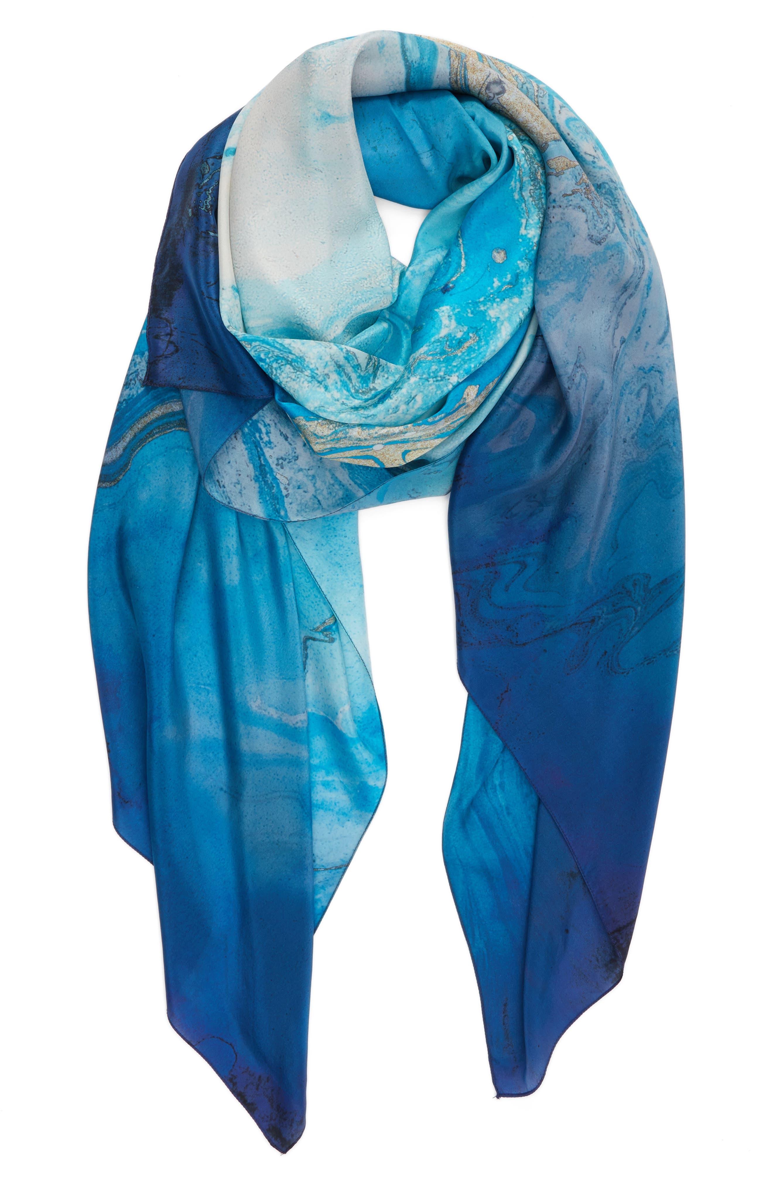 Ocean Ombré Silk Wrap,                             Alternate thumbnail 2, color,                             Blue Combo
