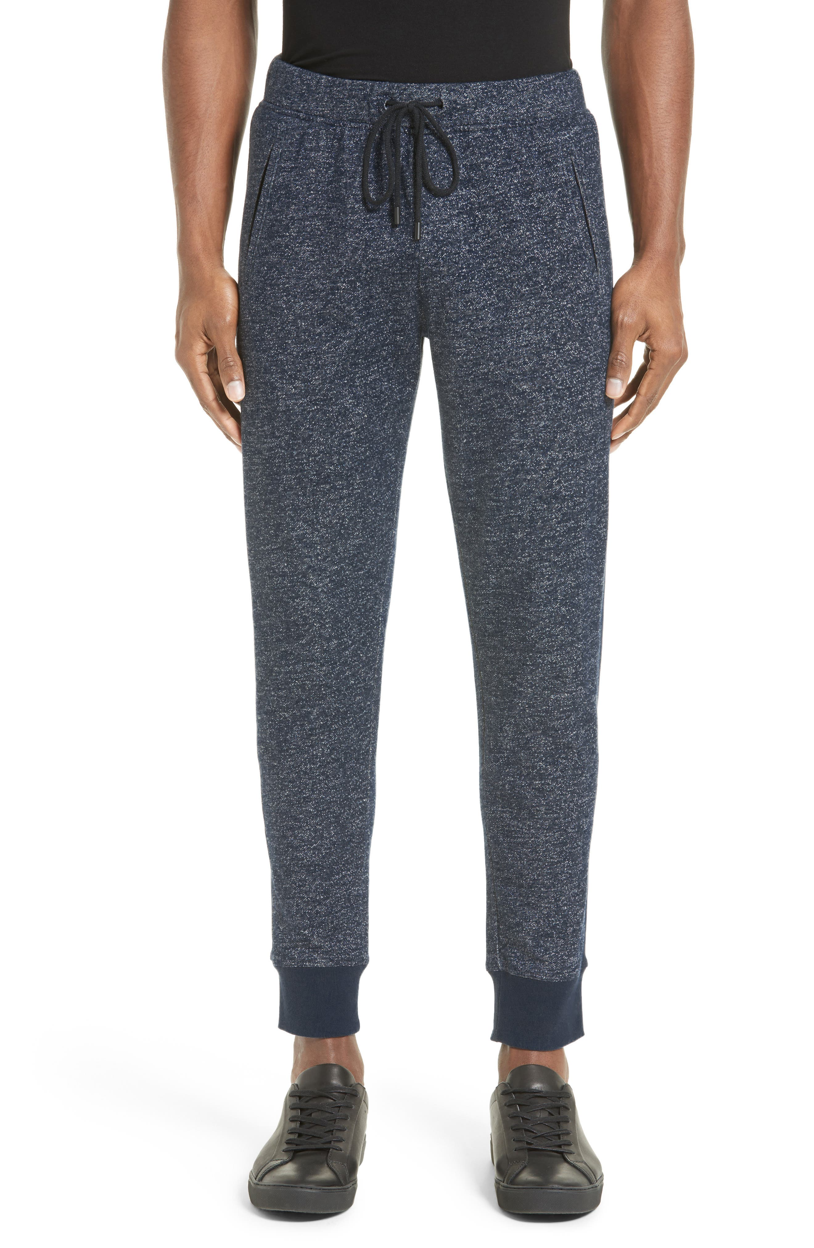 French Terry Jogger Pants,                         Main,                         color, Navy/ Ivory Blast