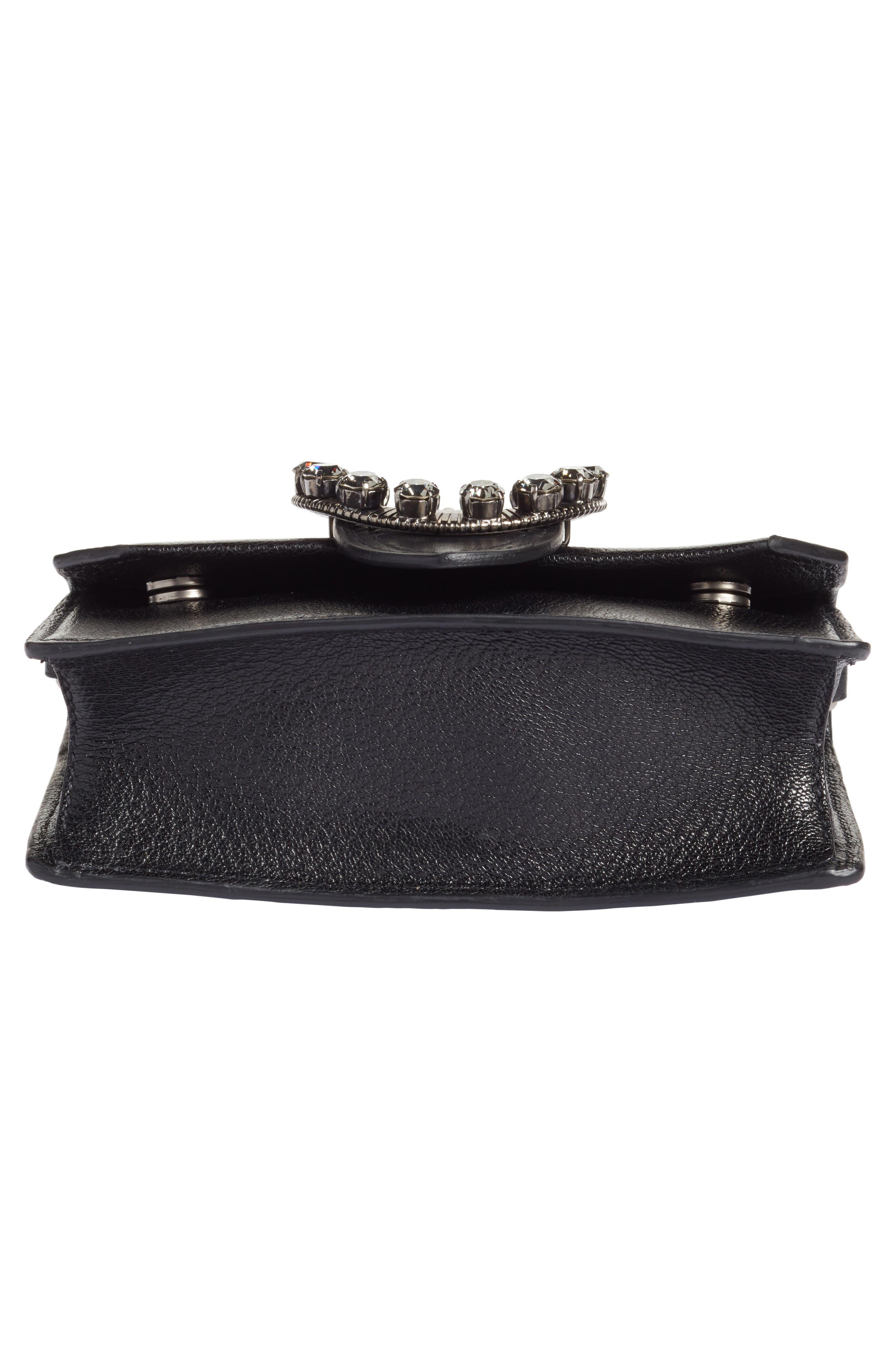 Lady Madras Crystal Embellished Leather Crossbody Bag,                             Alternate thumbnail 6, color,                             Nero 1