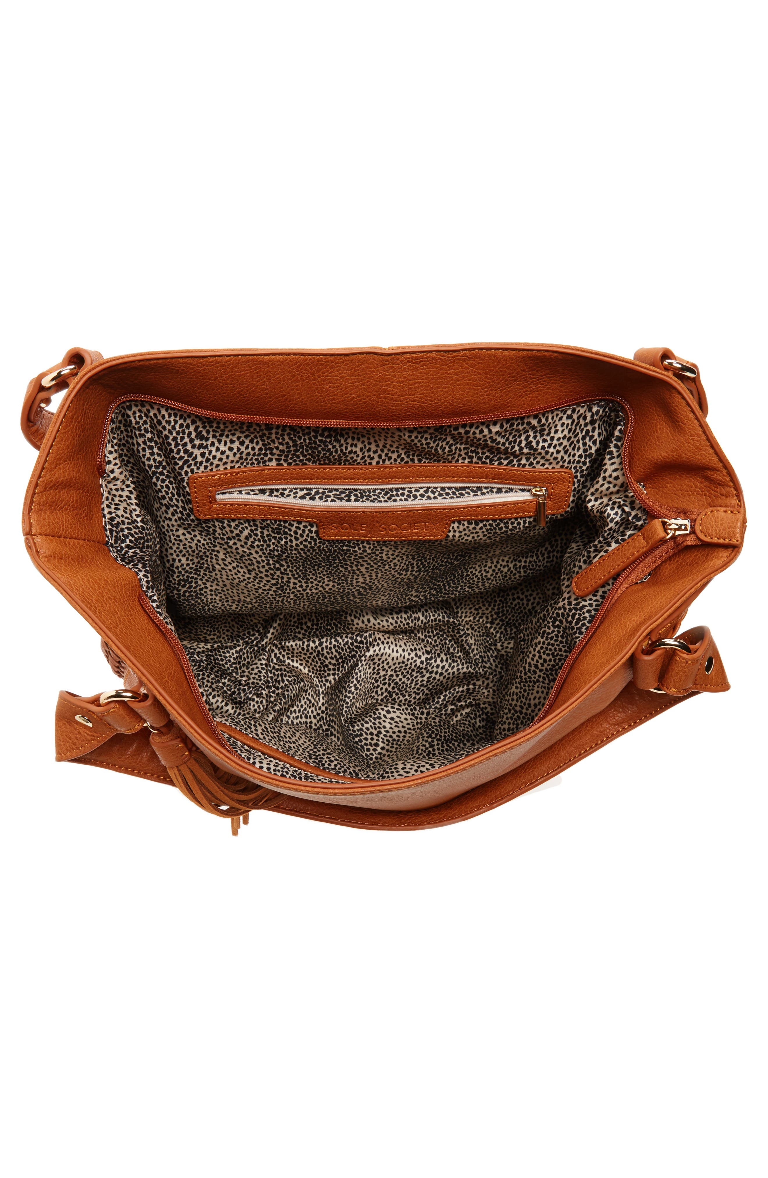 Tara Braided Faux Leather Hobo,                             Alternate thumbnail 4, color,                             Cognac