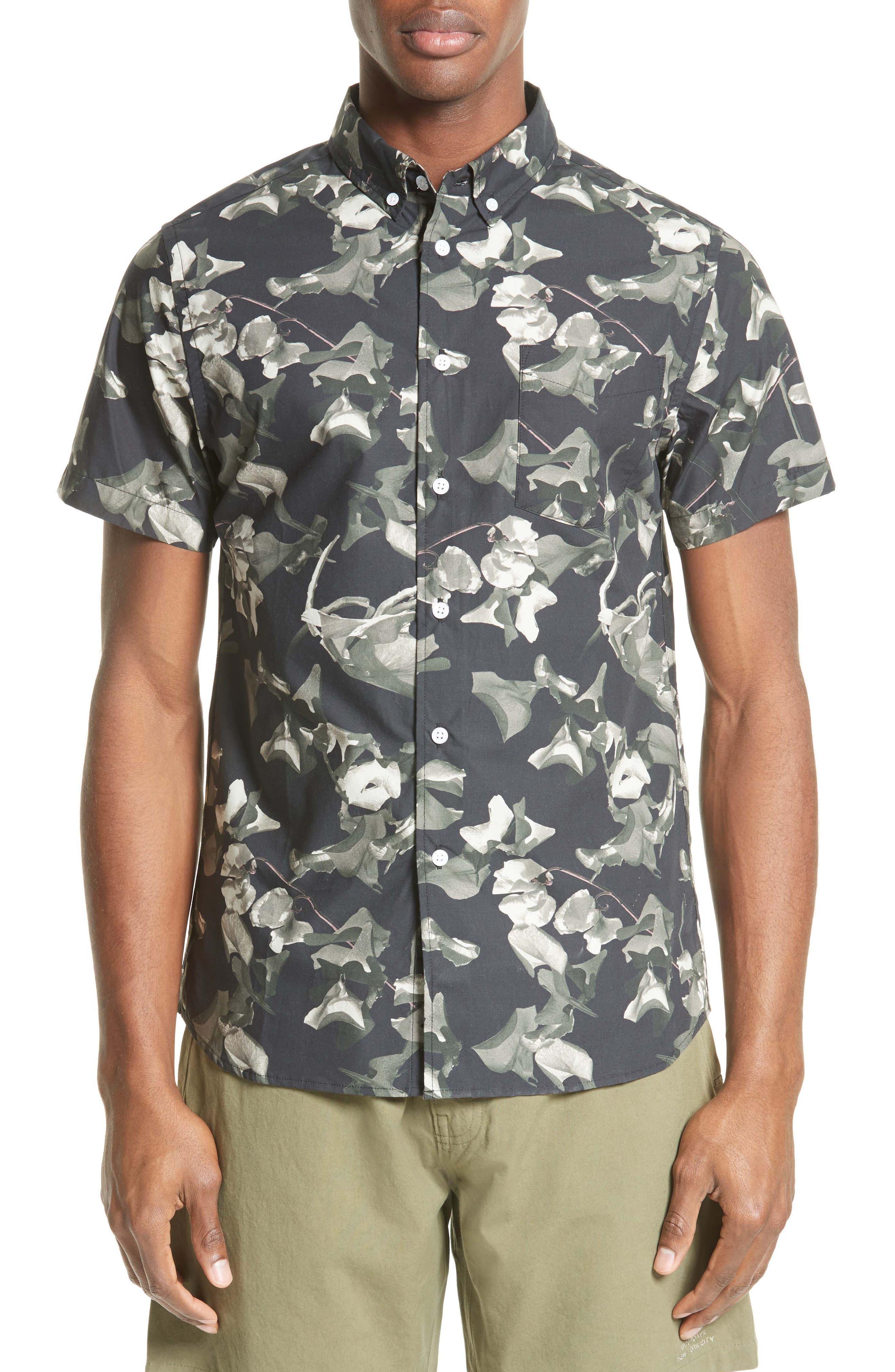 Saturdays NYC Esquina Petals Print Trim Fit Sport Shirt