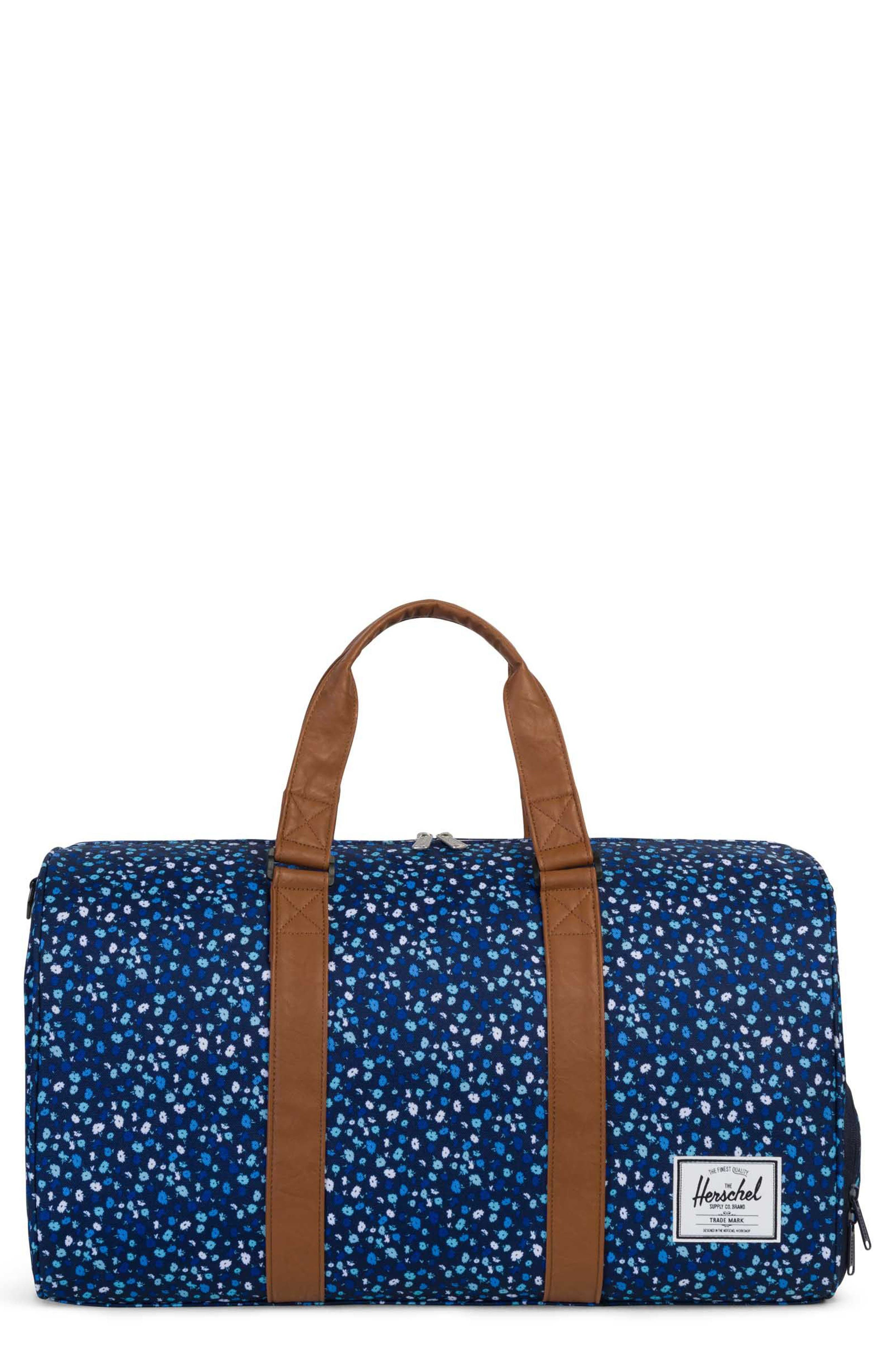 Novel Floral Pattern Duffel Bag,                         Main,                         color, Peacoat Mini Floral