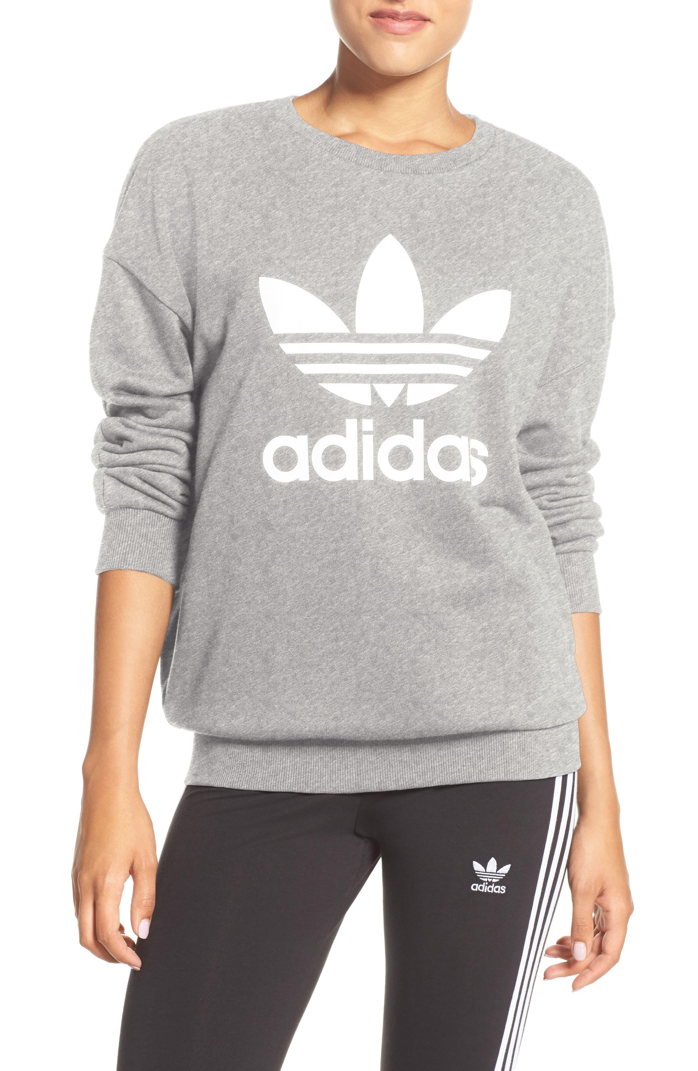 Originals Trefoil Crewneck Sweatshirt,                         Main,                         color, Medium Grey Heather
