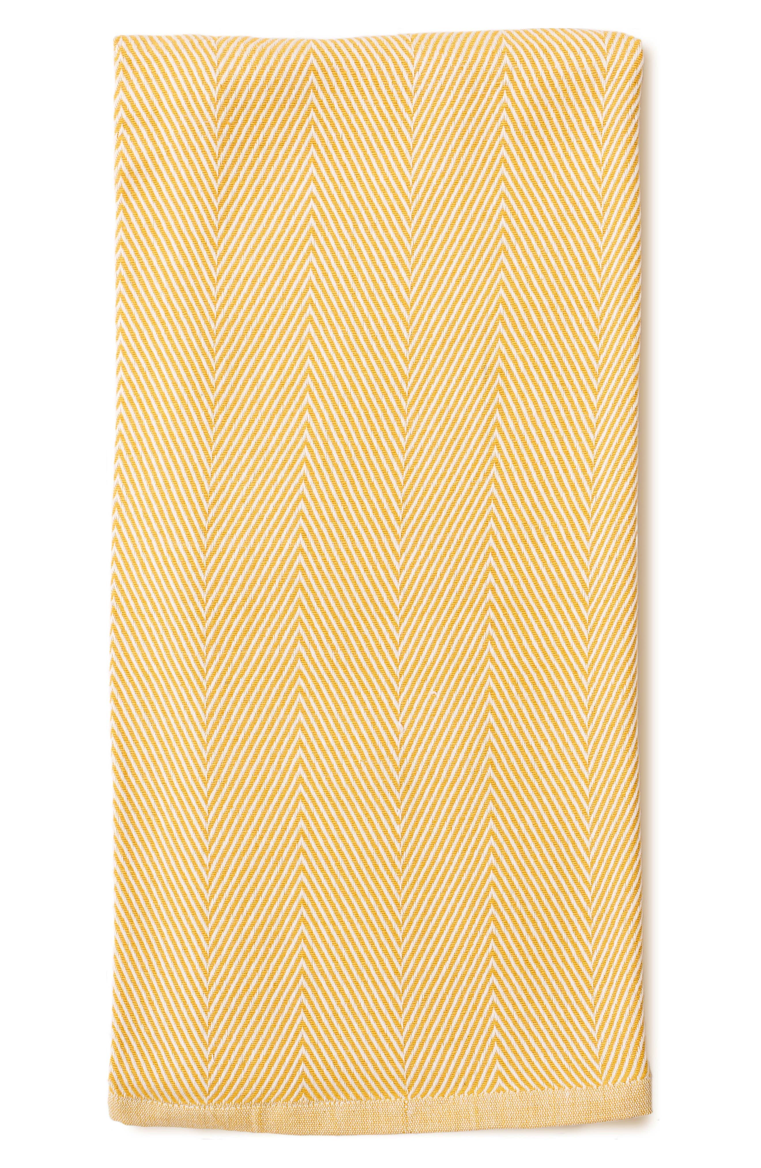 Herringbone Organic Cotton Blanket,                         Main,                         color, Citron