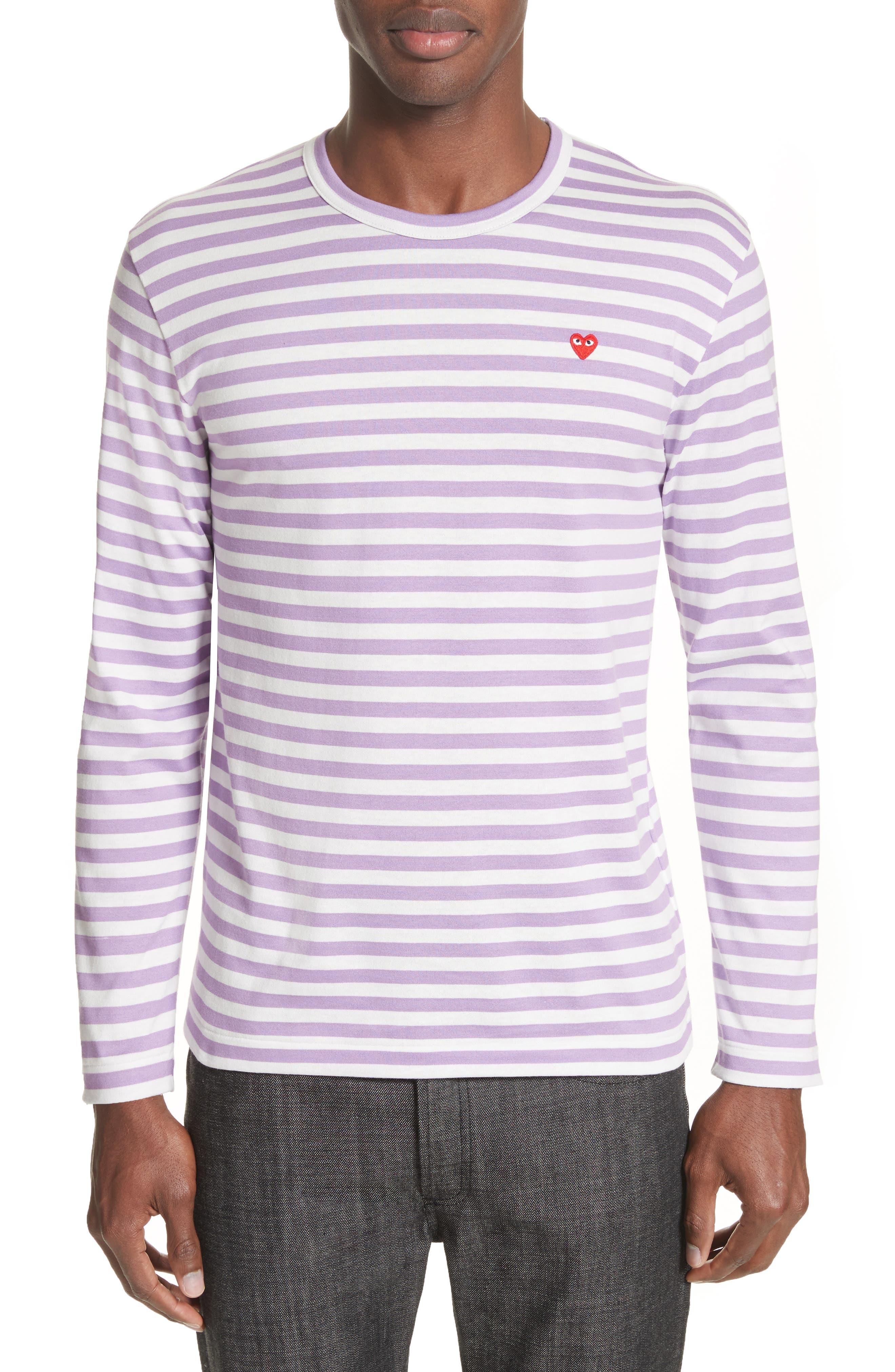 Alternate Image 1 Selected - Comme des Garçons PLAY Long Sleeve Stripe Crewneck T-Shirt