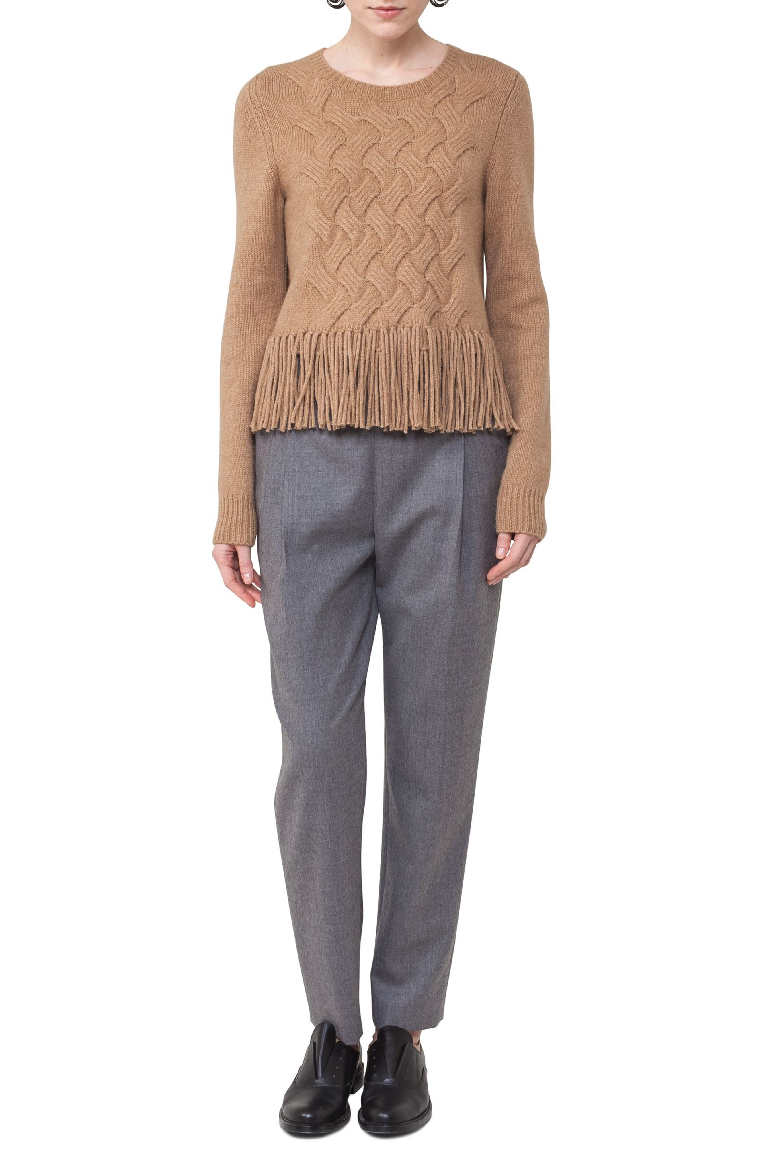 Fiola Wool Slouch Pants,                             Alternate thumbnail 3, color,                             Stone