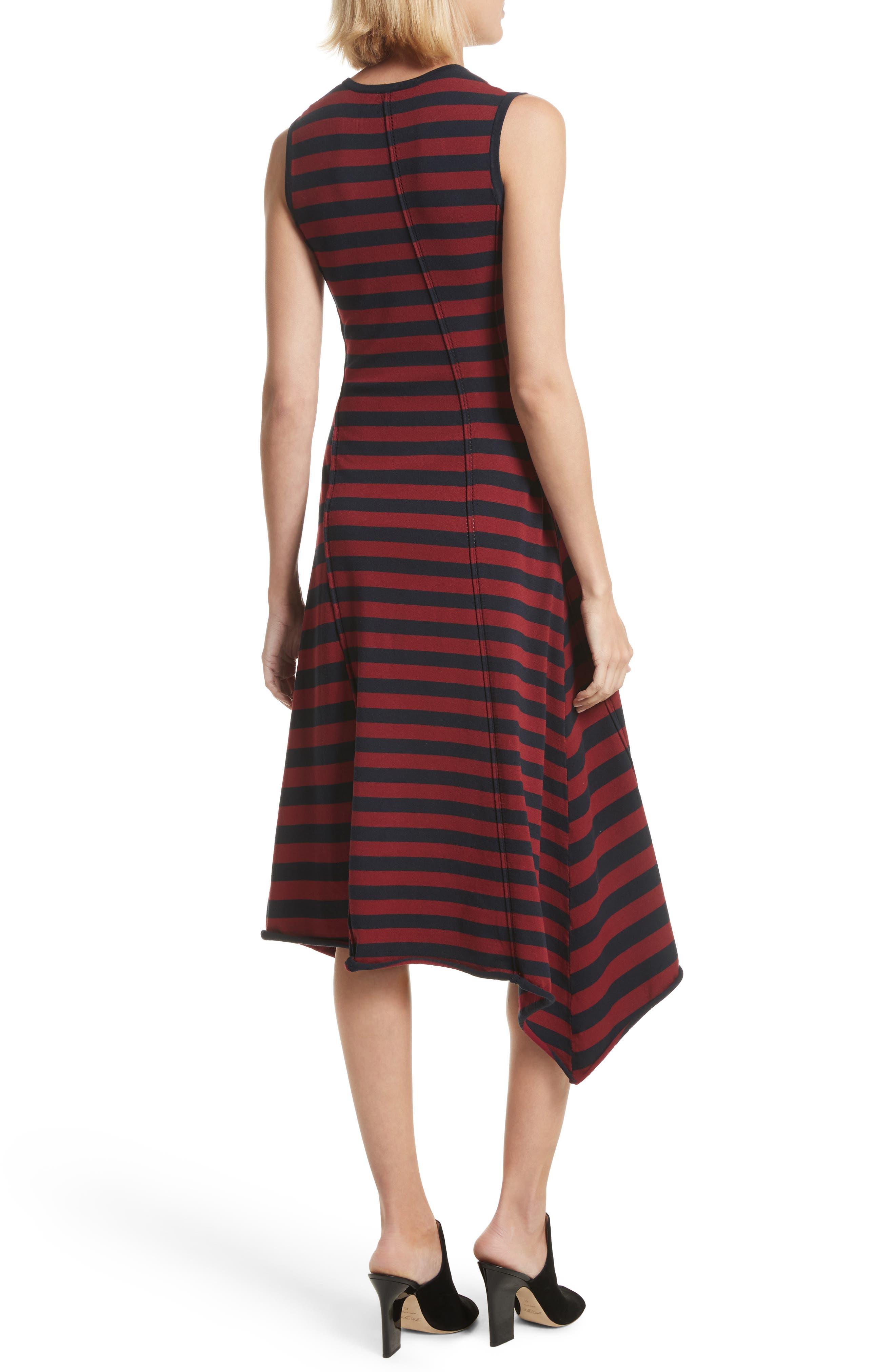 Stripe Handkerchief Hem Dress,                             Alternate thumbnail 2, color,                             Midnight/ Rosewood