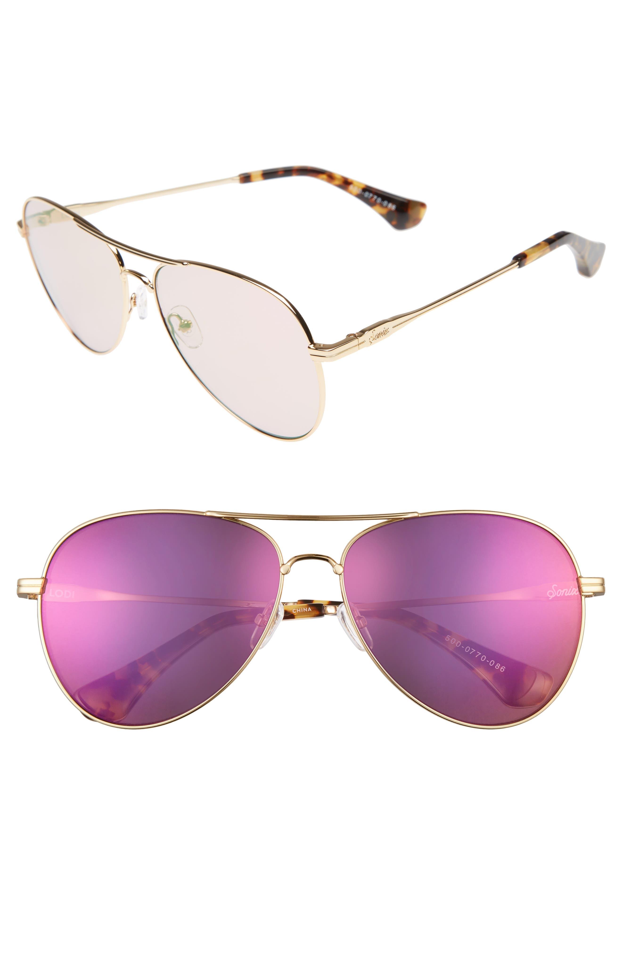 Lodi 61mm Mirrored Aviator Sunglasses,                         Main,                         color, Gold Wire/ Lilac Mirror