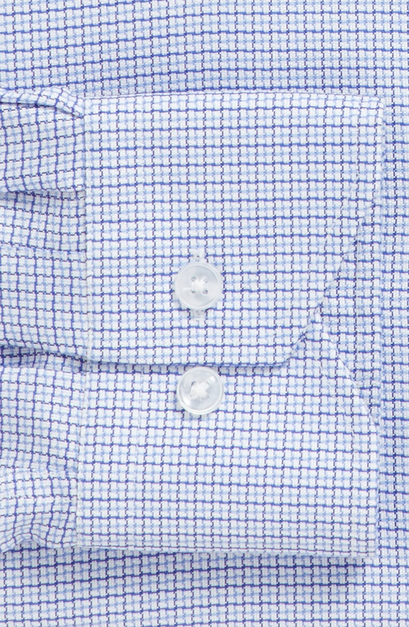 Trim Fit Check Dress Shirt,                             Alternate thumbnail 3, color,                             Light Blue/ Navy