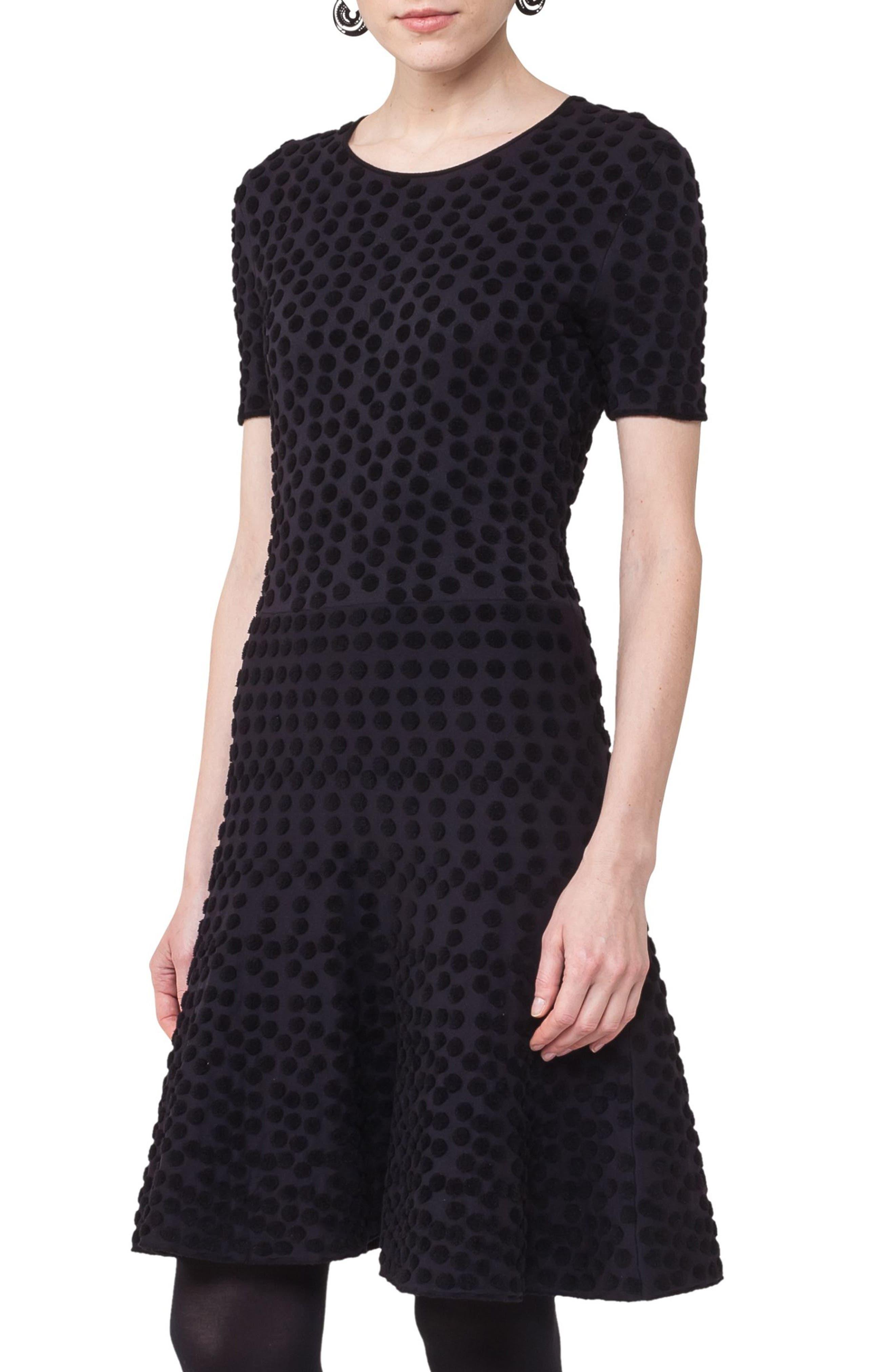 Main Image - Akris punto Velvet Dot Fit & Flare Dress