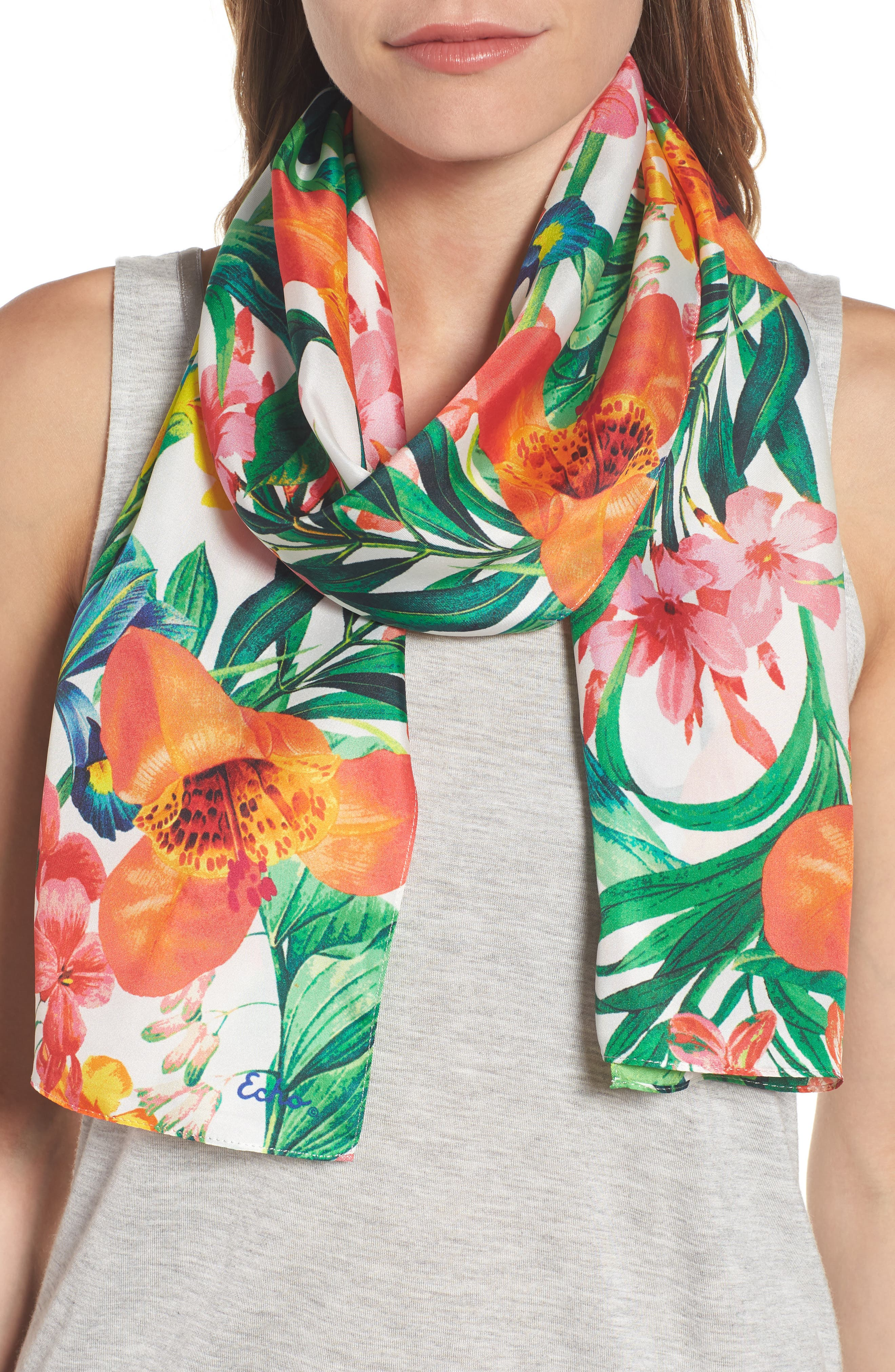 Alternate Image 1 Selected - Echo Tropic Floral Silk Scarf