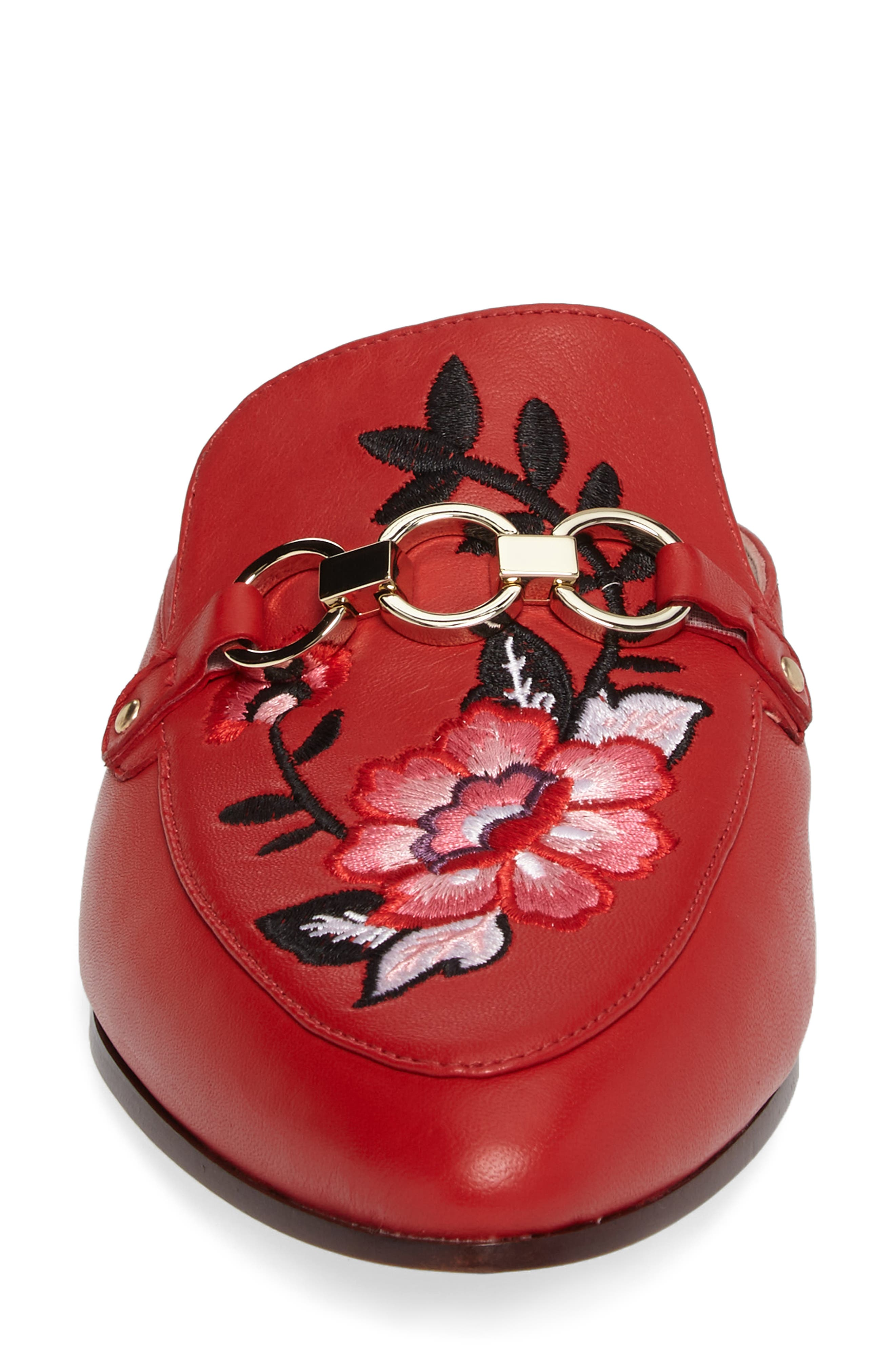 canyon embroidered loafer mule,                             Alternate thumbnail 4, color,                             Maraschino Red Nappa