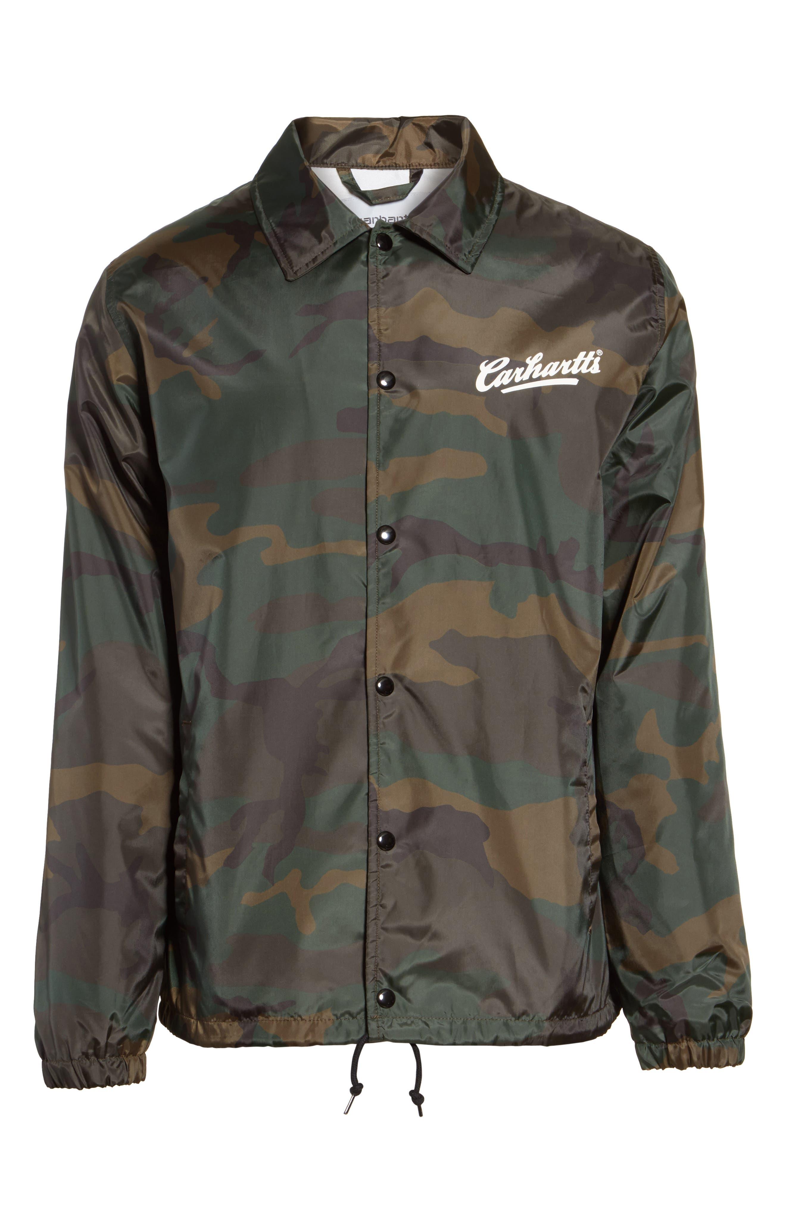 Camo Print Coach Jacket,                             Alternate thumbnail 6, color,                             Camo Combat Green/White