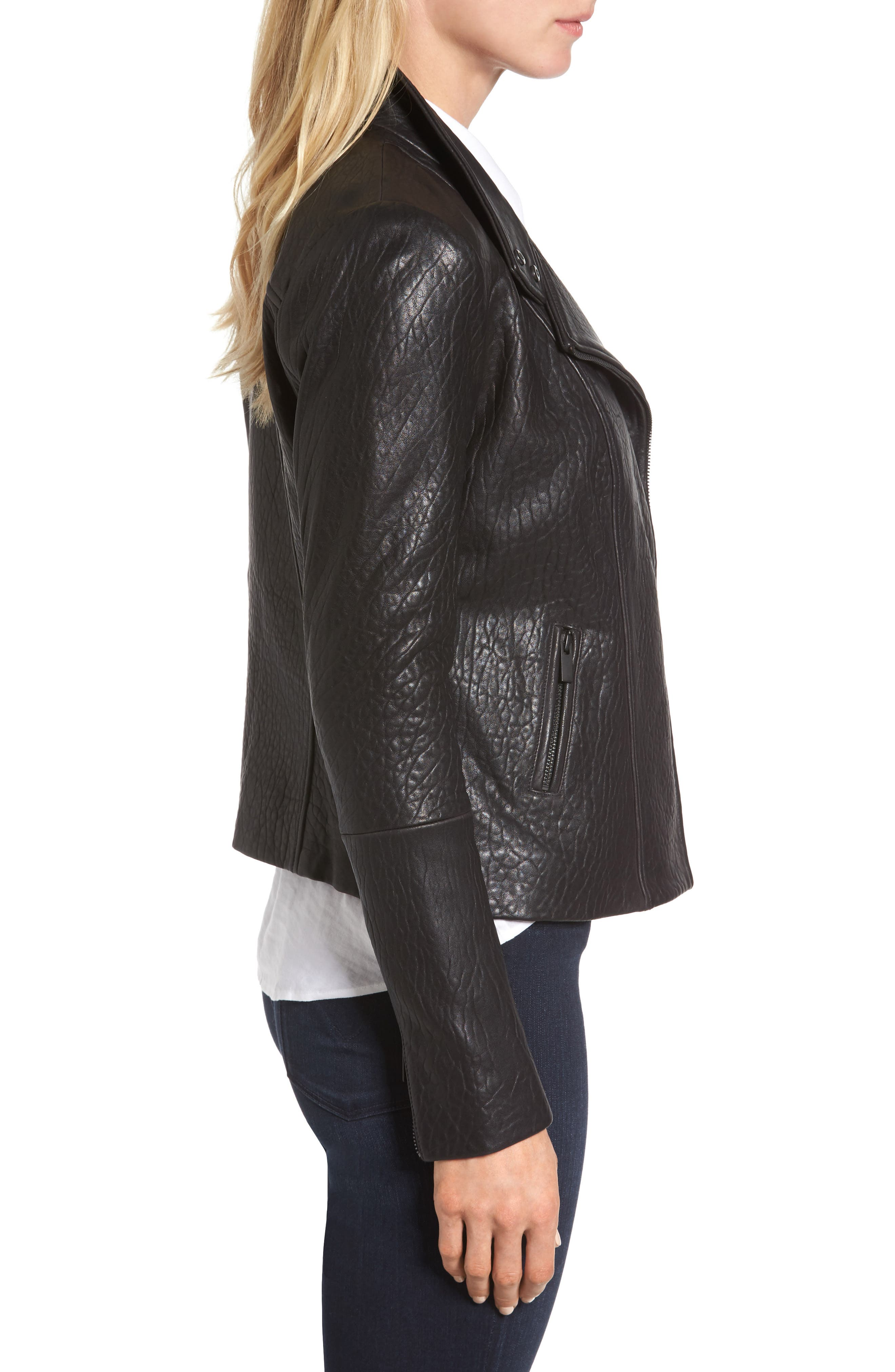 Alternate Image 5  - Halogen® Leather Jacket (Regular & Petite)