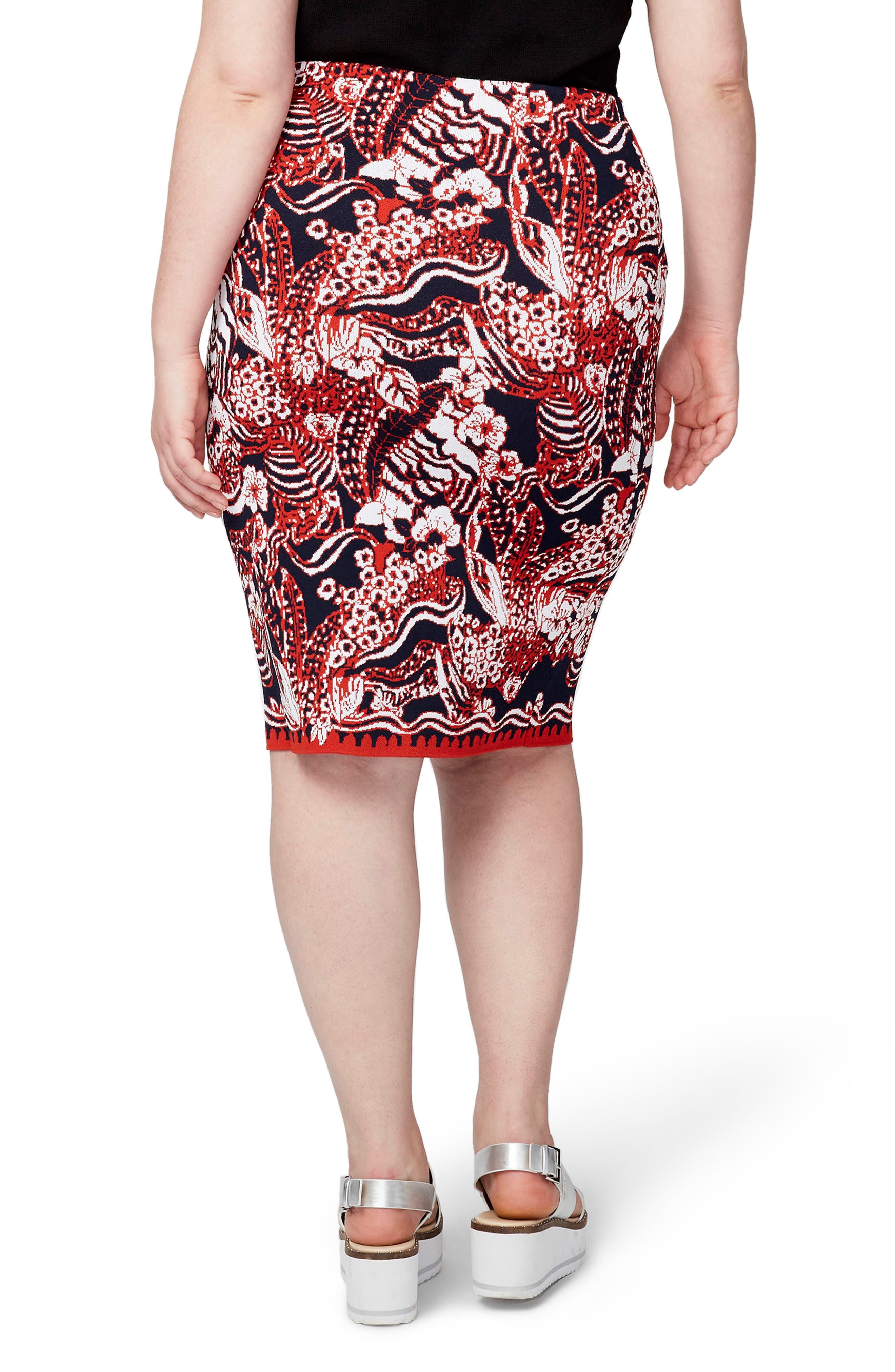 Jacquard Pencil Skirt,                             Alternate thumbnail 2, color,                             Red Combo