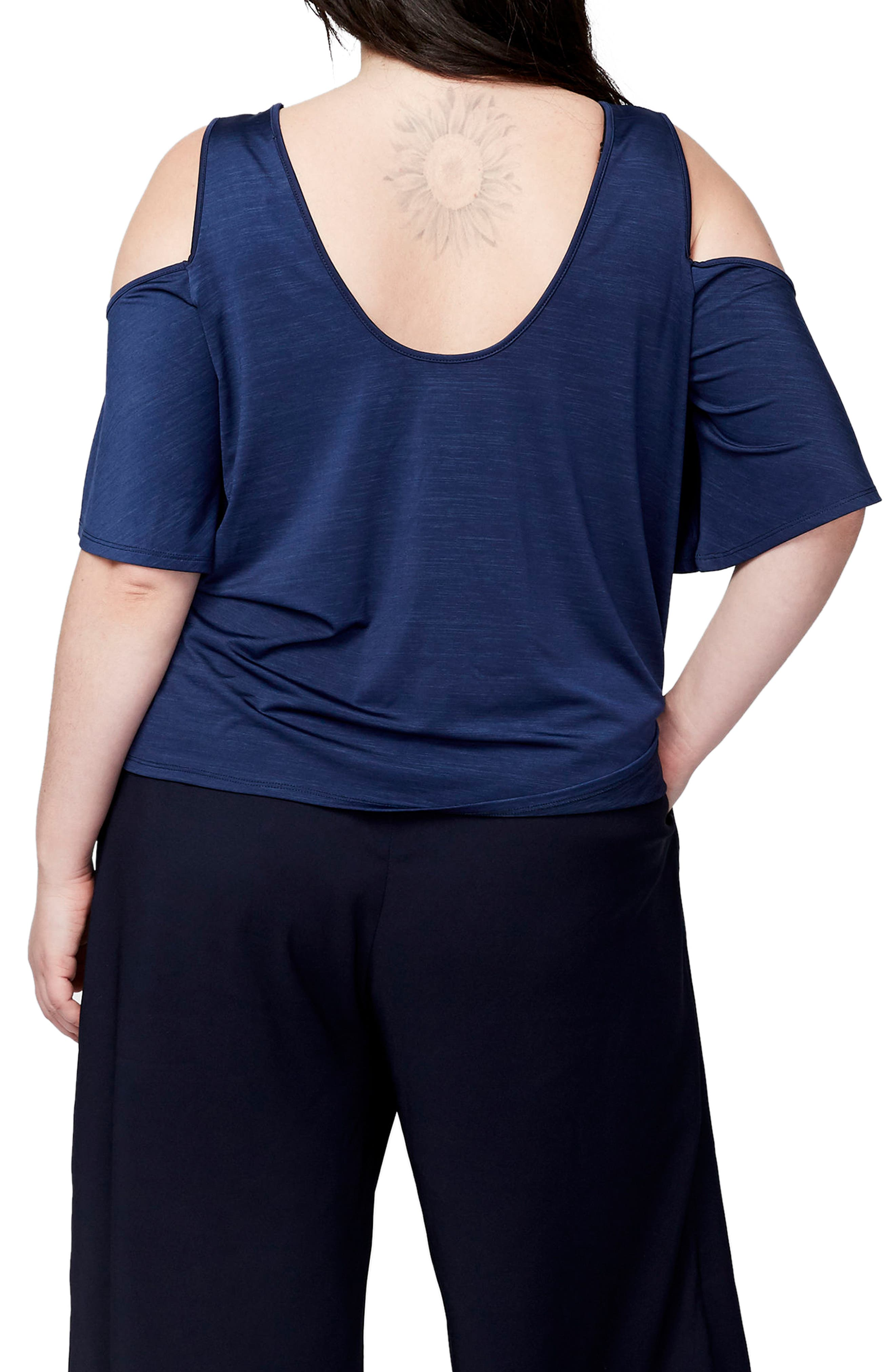 Cold Shoulder Bell Sleeve Top,                             Alternate thumbnail 2, color,                             Navy