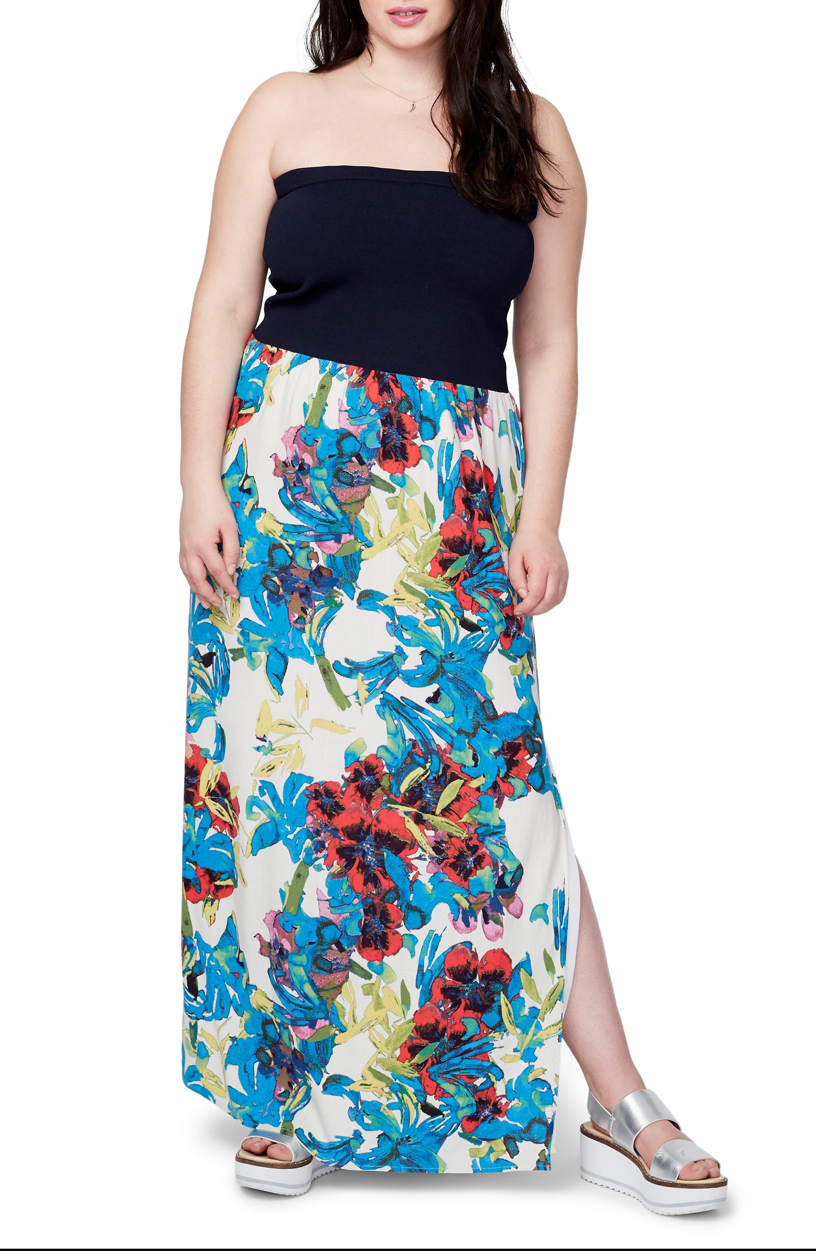 Main Image - RACHEL Rachel Roy Strapless Mixed Media Maxi Dress (Plus Size)