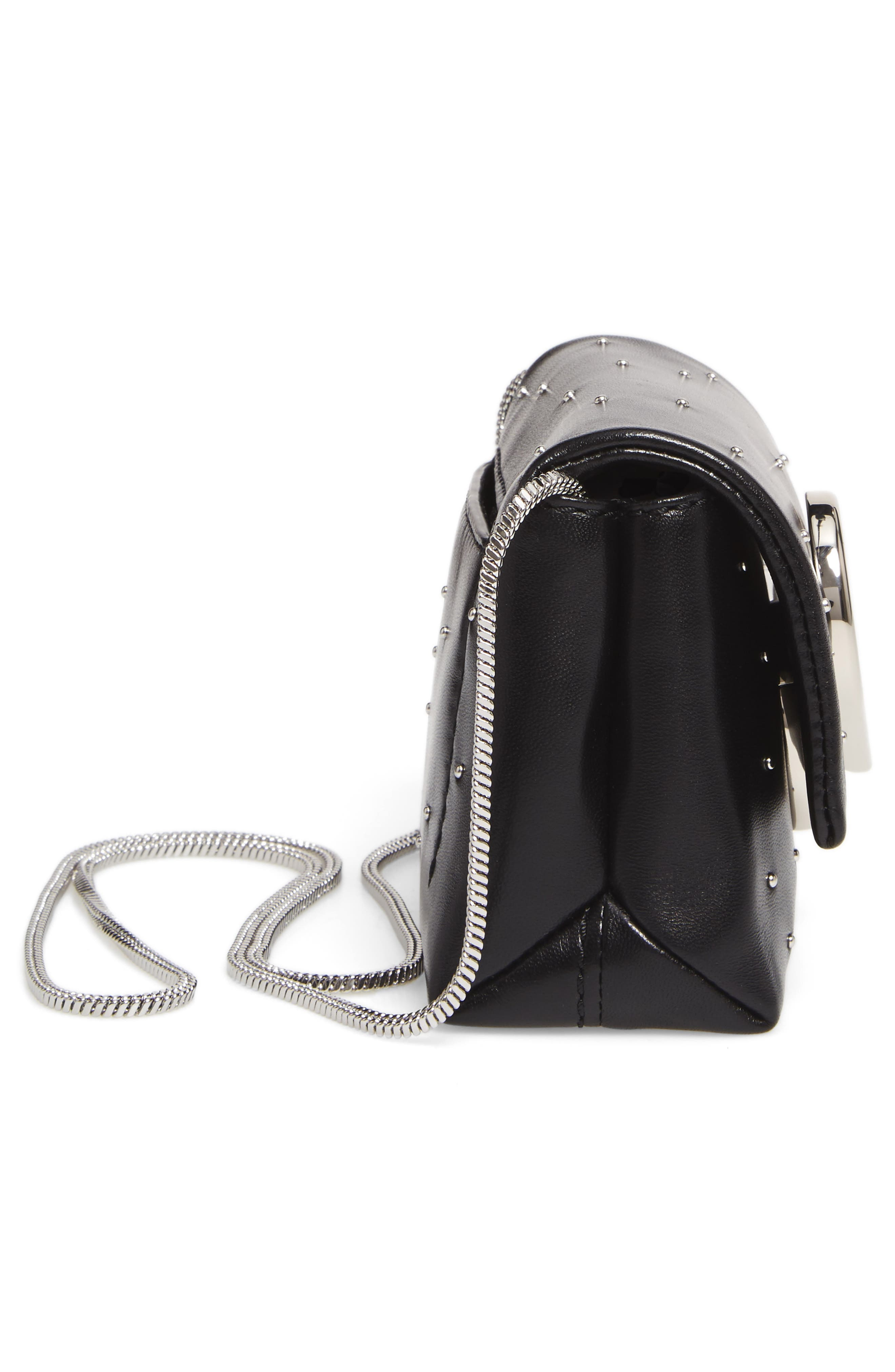 Micro Alix Leather Crossbody Bag,                             Alternate thumbnail 3, color,                             Black