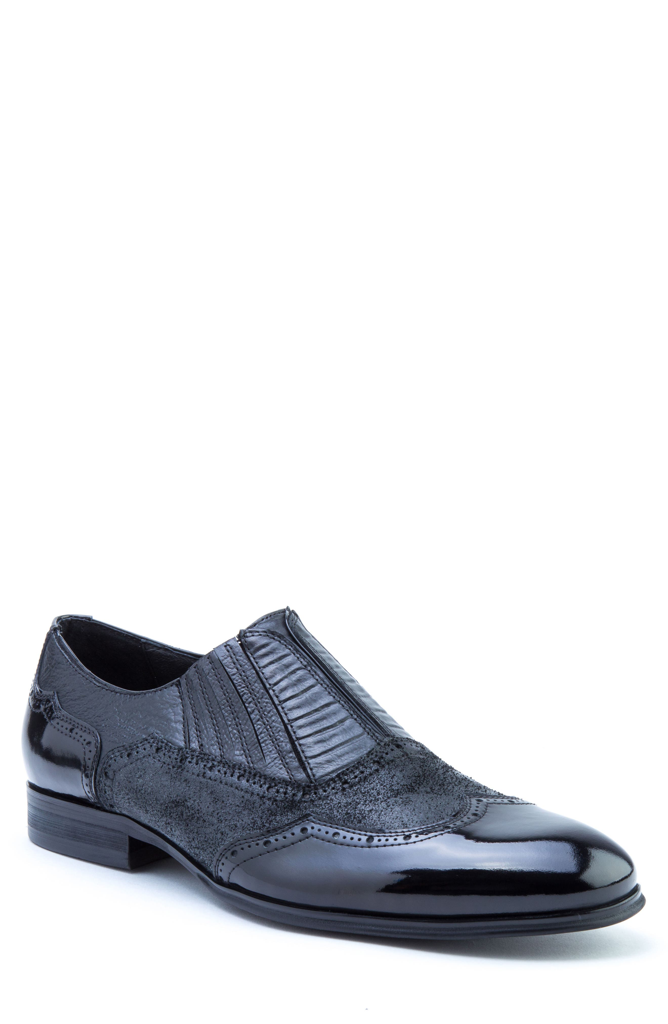 Warwick Wingtip,                             Main thumbnail 1, color,                             Black Leather