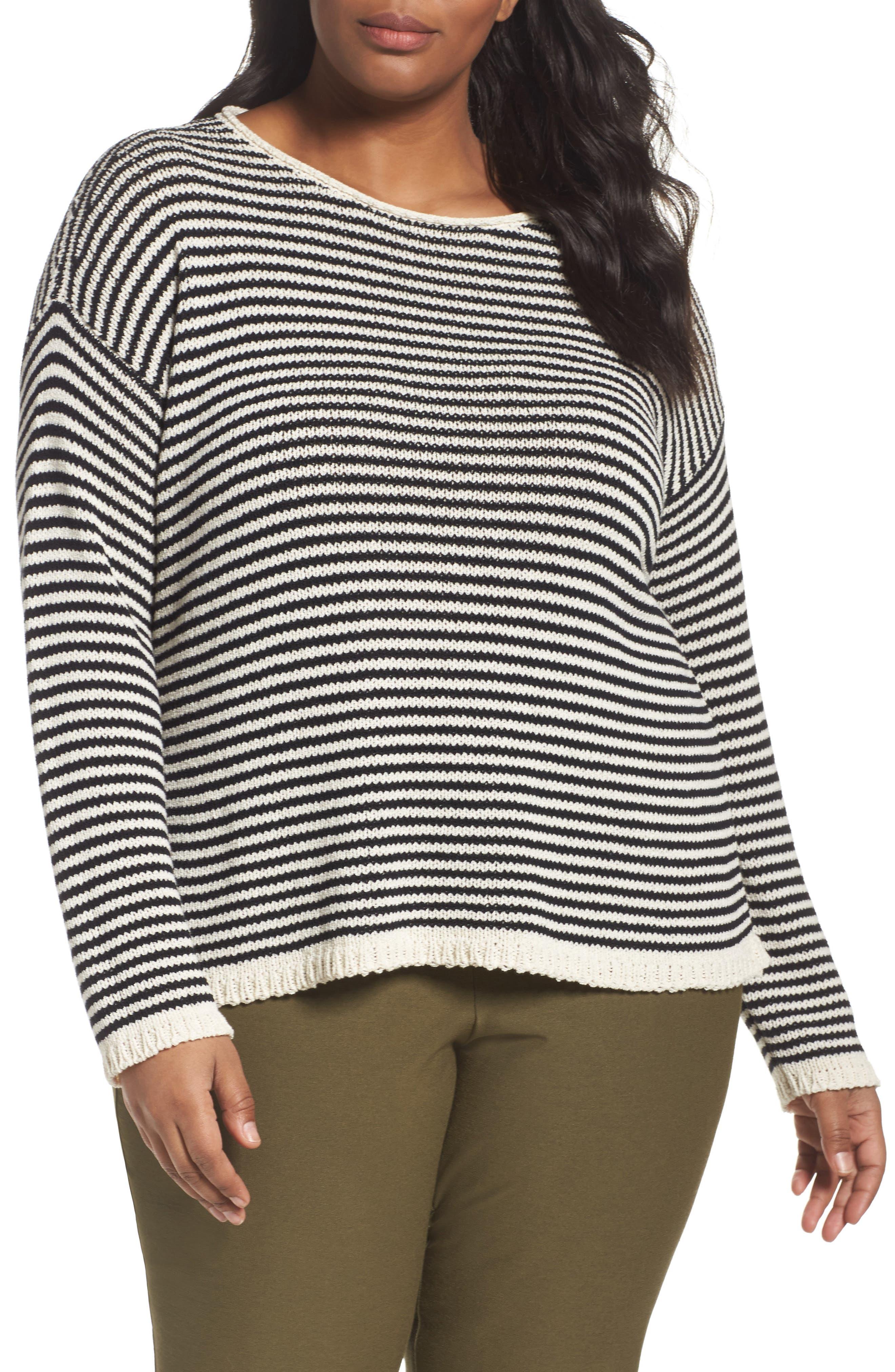 Main Image - Eileen Fisher Stripe Cotton Blend Knit Top (Plus Size)