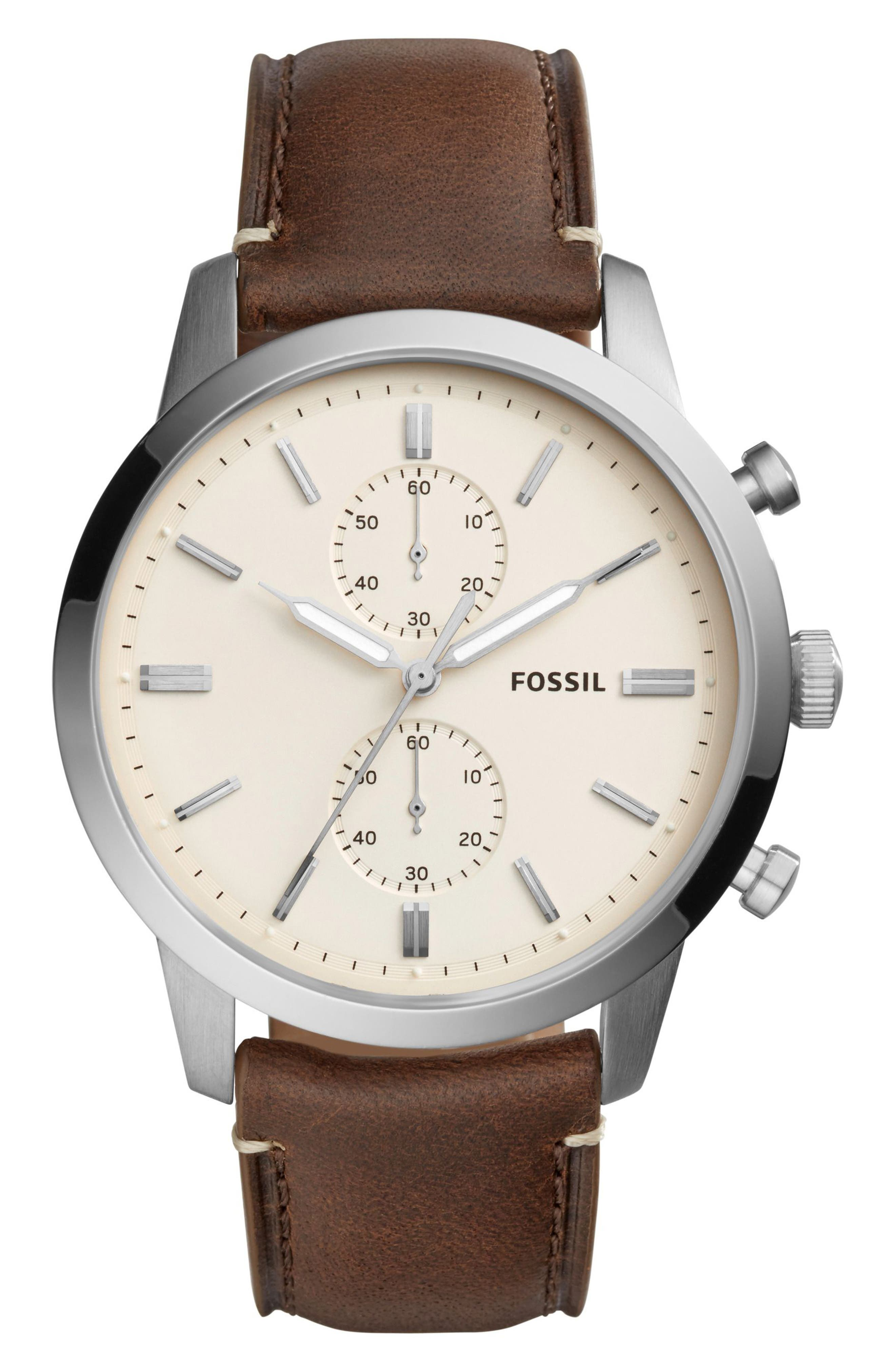 Townsman Chronograph Leather Strap Watch, 44mm,                         Main,                         color, White/ Brown