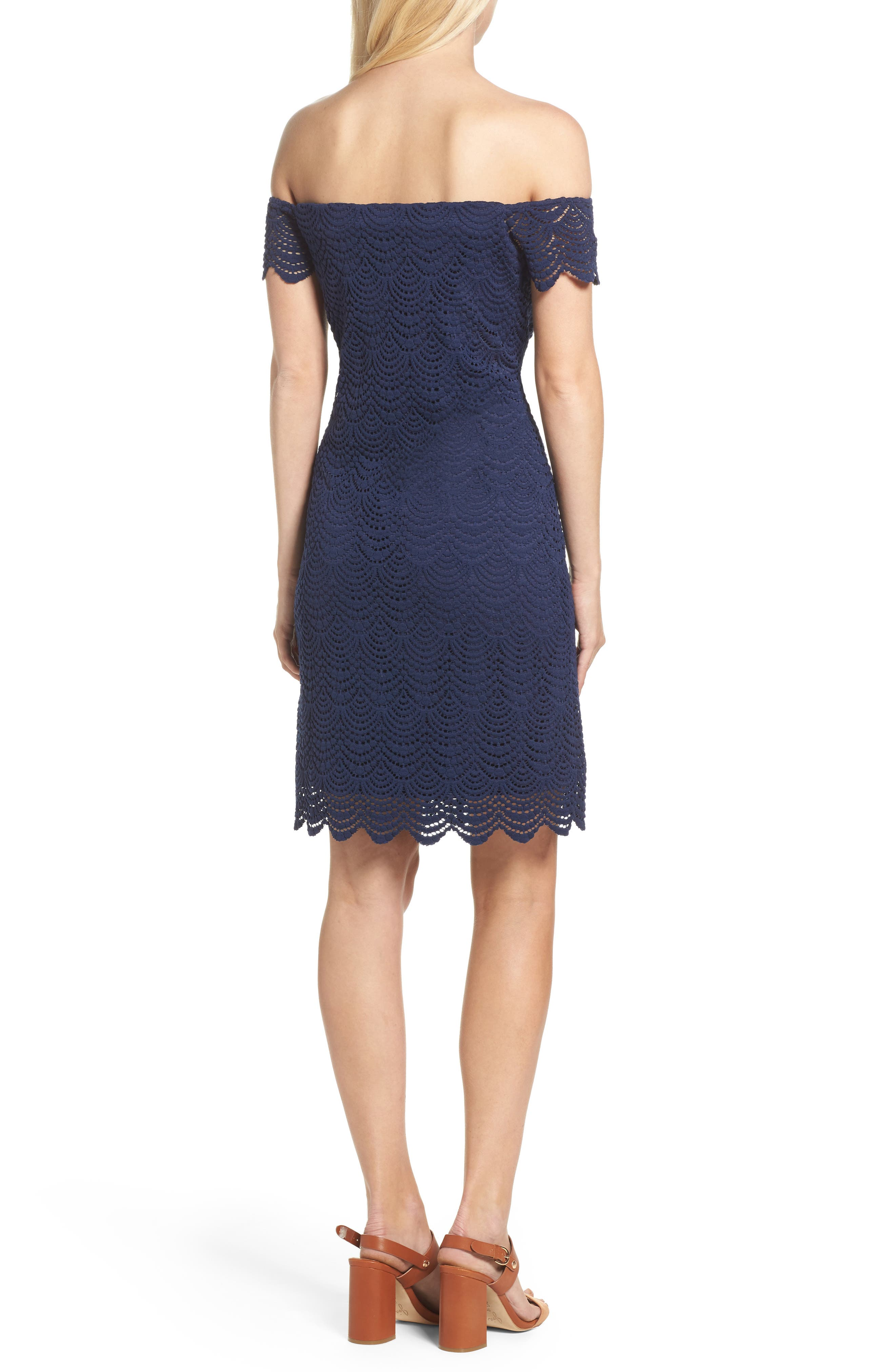 Jade Lace Off the Shoulder Dress,                             Alternate thumbnail 2, color,                             True Navy