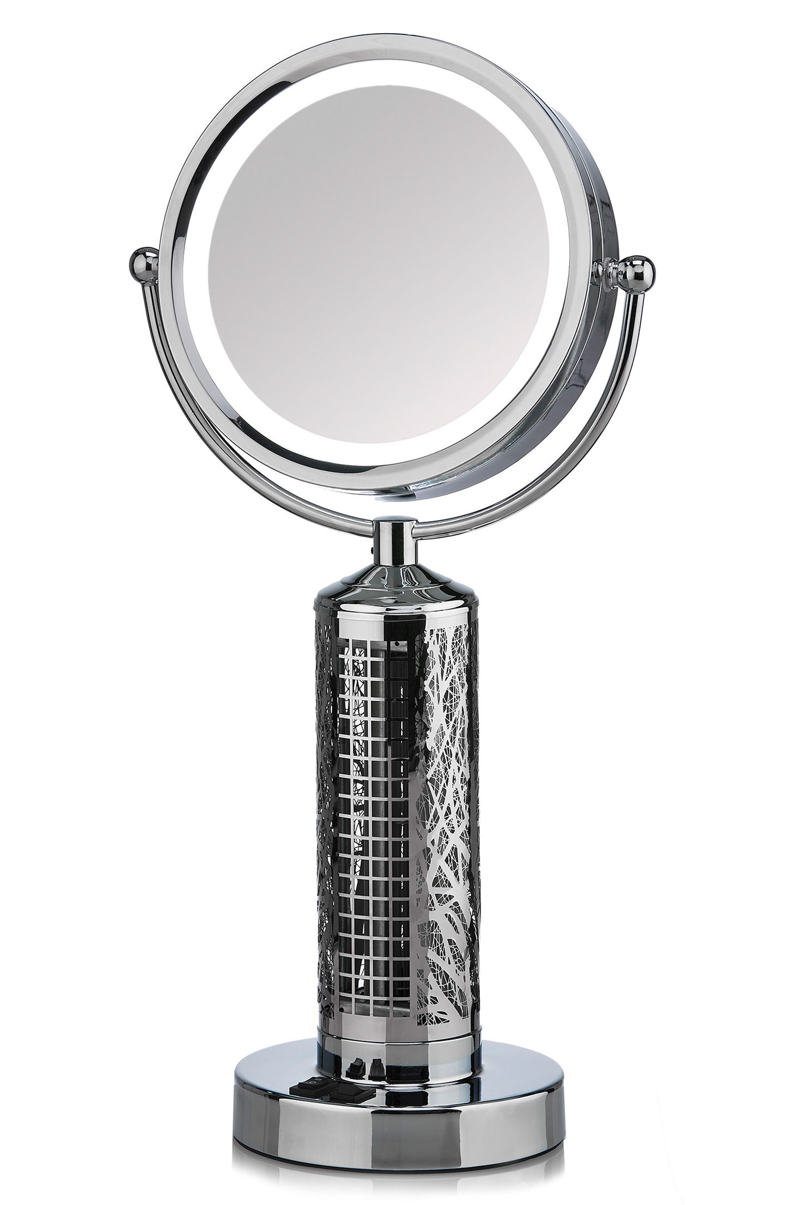 Fanity Makeup Mirror with Electric Fan,                         Main,                         color, Silver