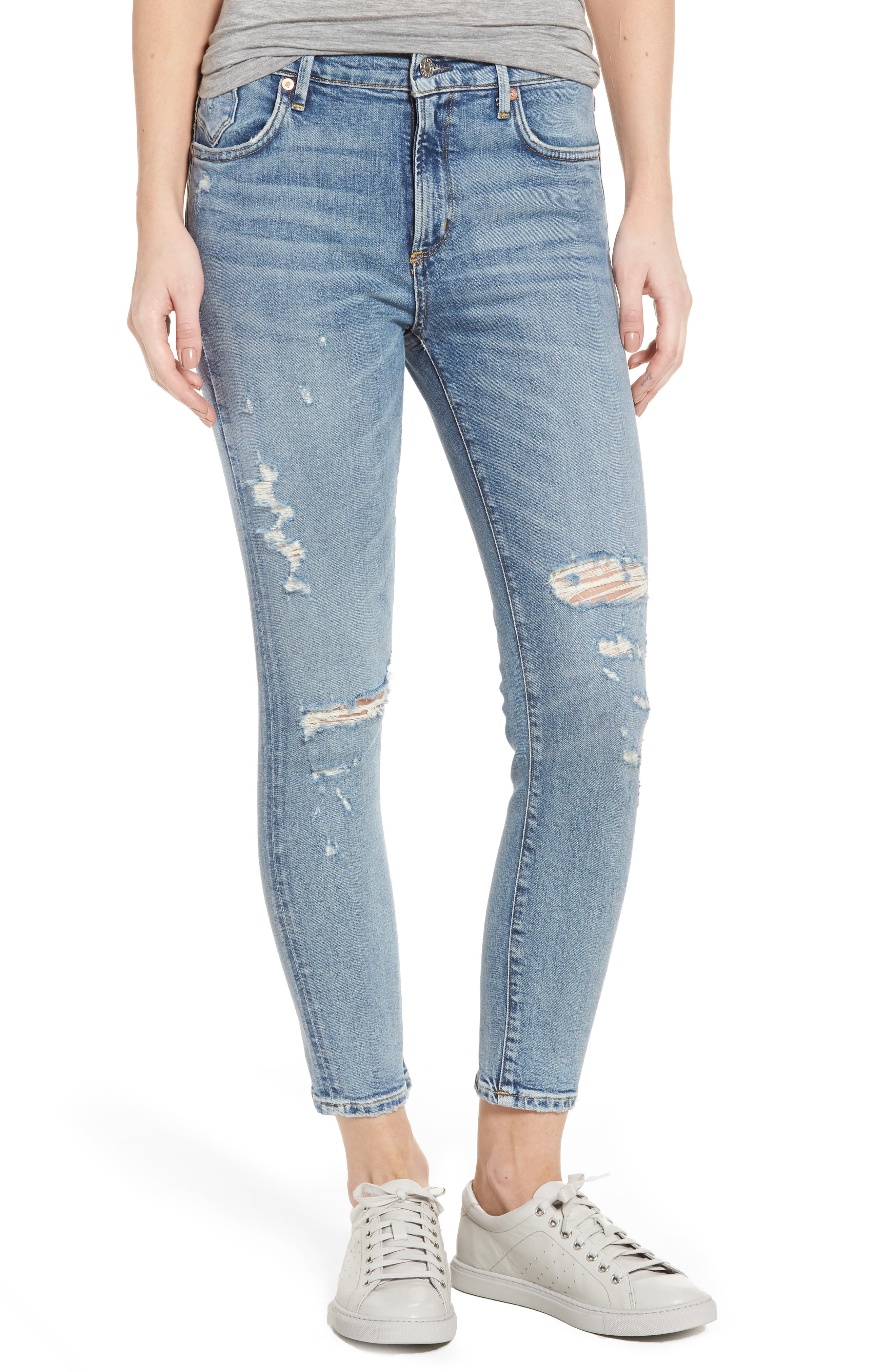Alternate Image 1 Selected - AGOLDE Sophie Distressed High Waist Skinny Jeans (Outsider)