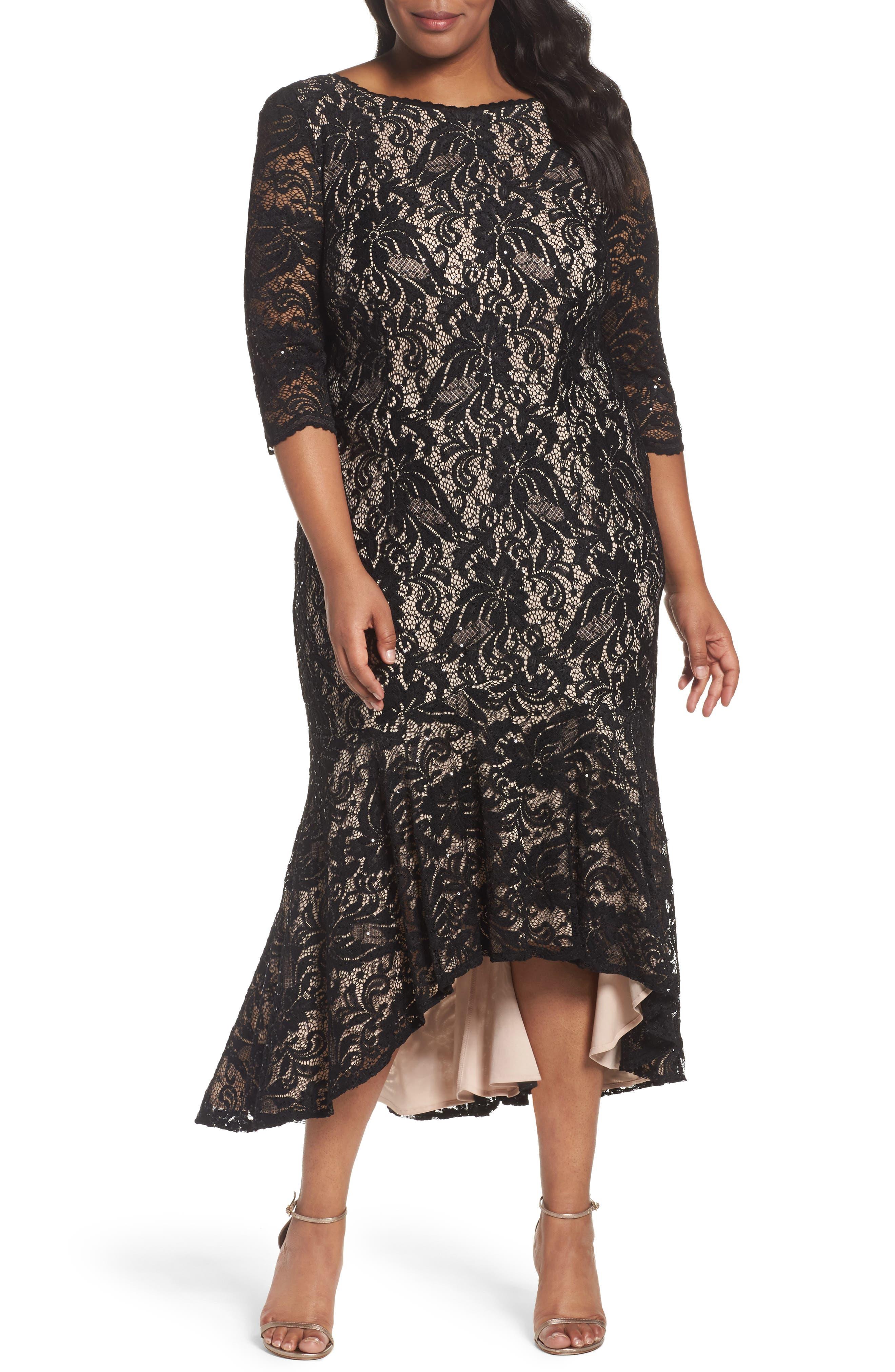 Main Image - Alex Evenings High/Low Lace Mermaid Dress (Plus Size)