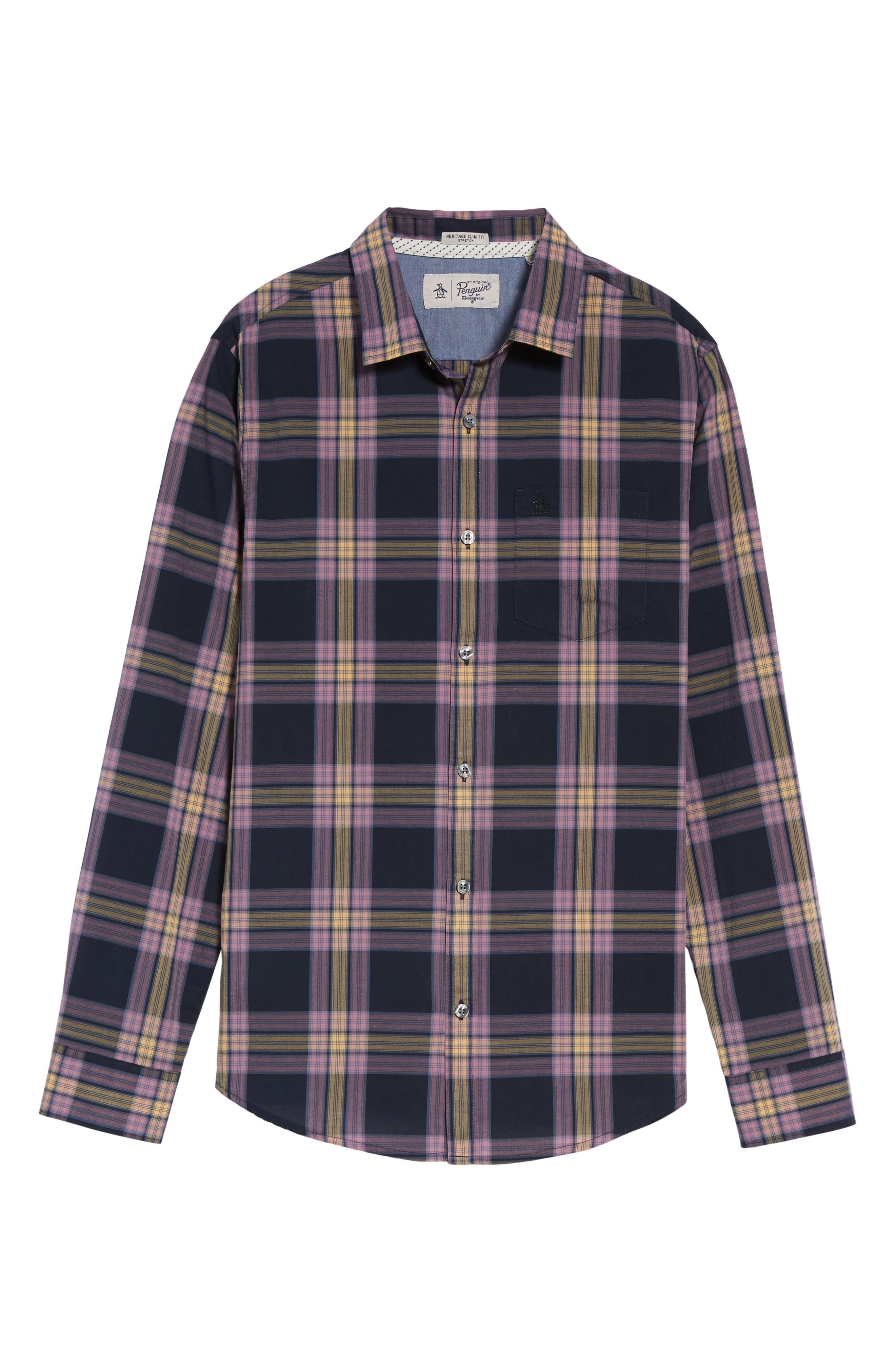 Heritage Slim Fit Plaid Woven Shirt,                             Alternate thumbnail 6, color,                             Dark Sapphire