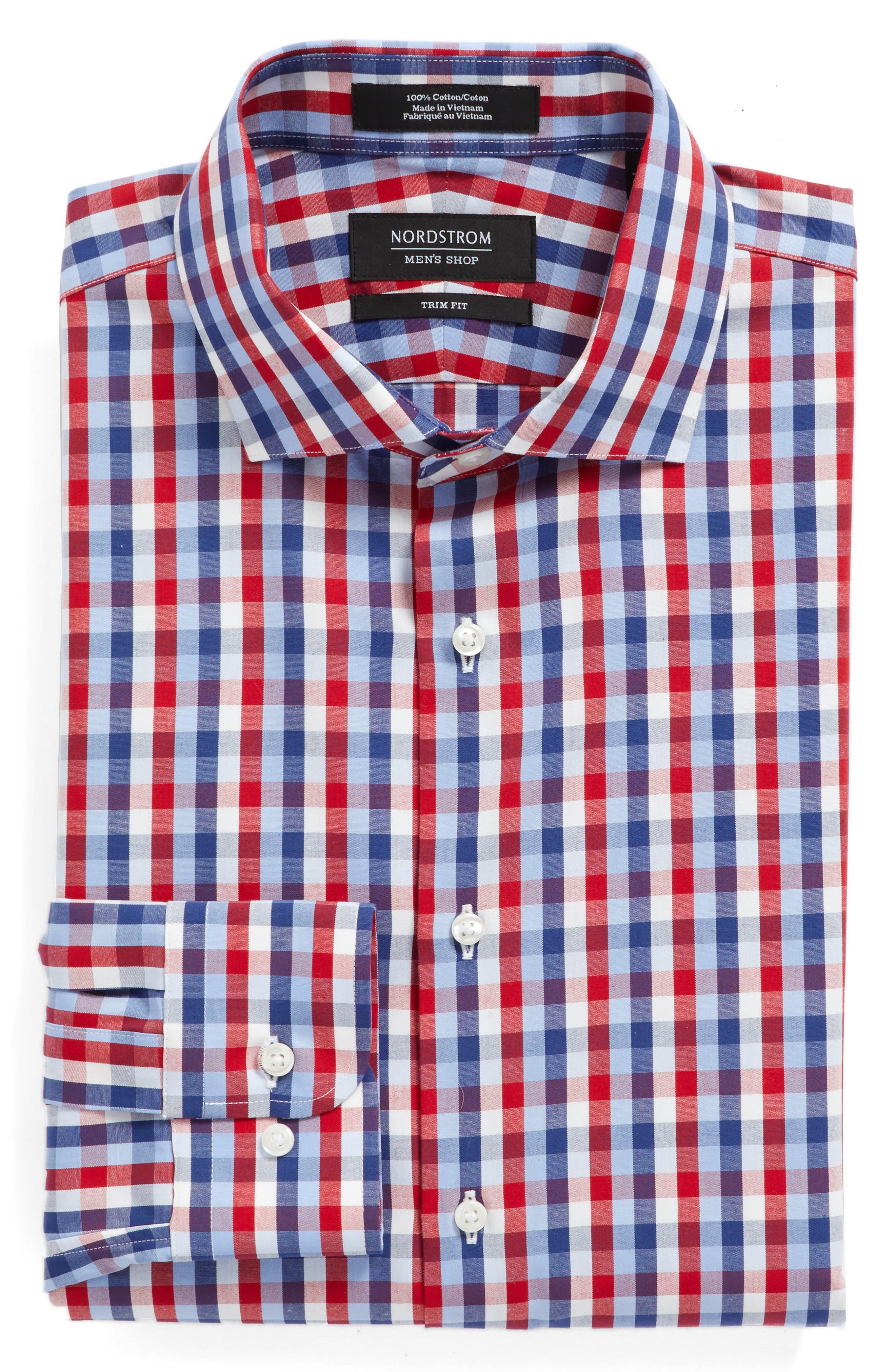 NORDSTROM MENS SHOP Trim Fit Check Dress Shirt
