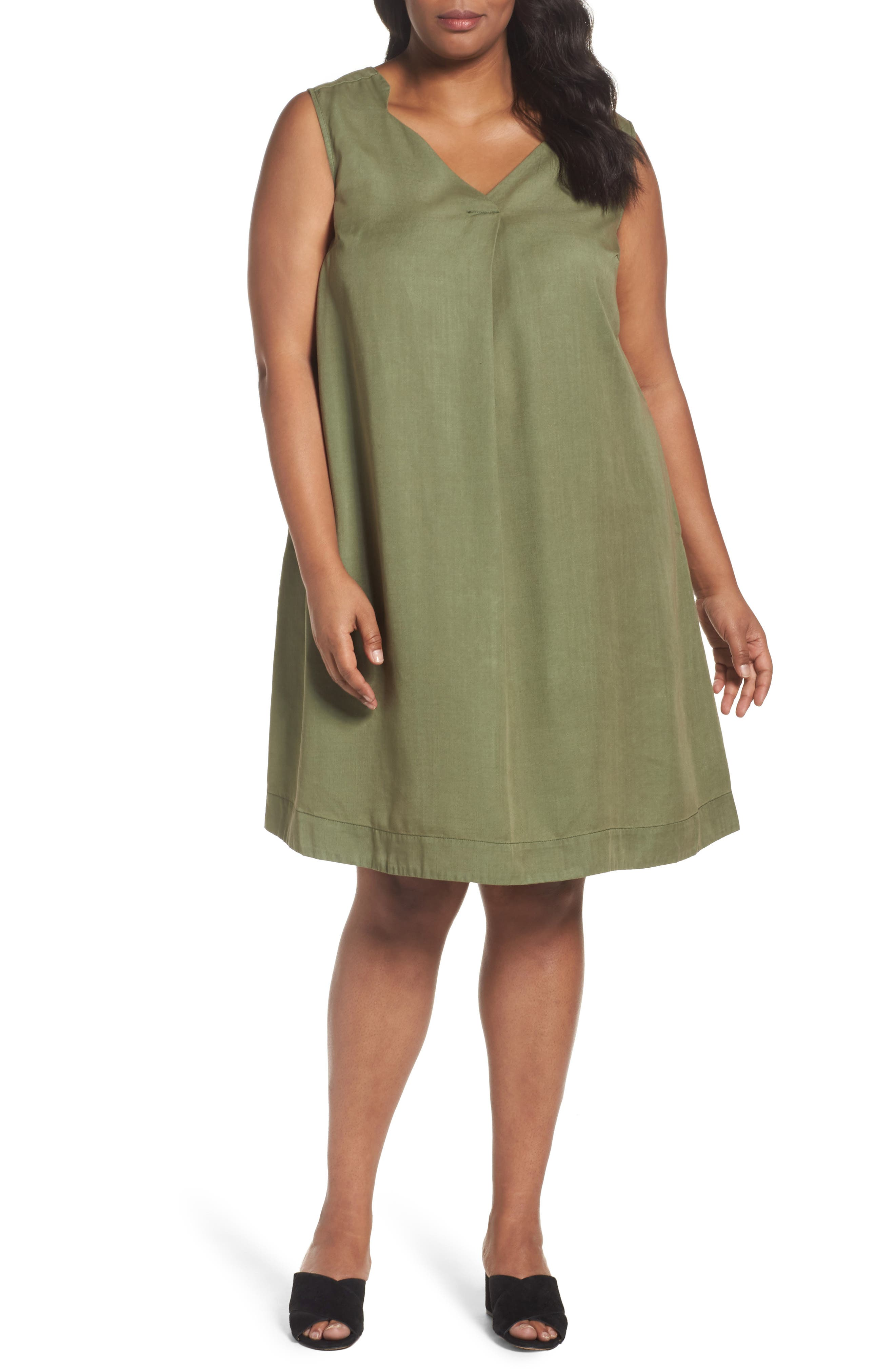 Skyler Twill A-Line Dress,                             Main thumbnail 1, color,                             Olive