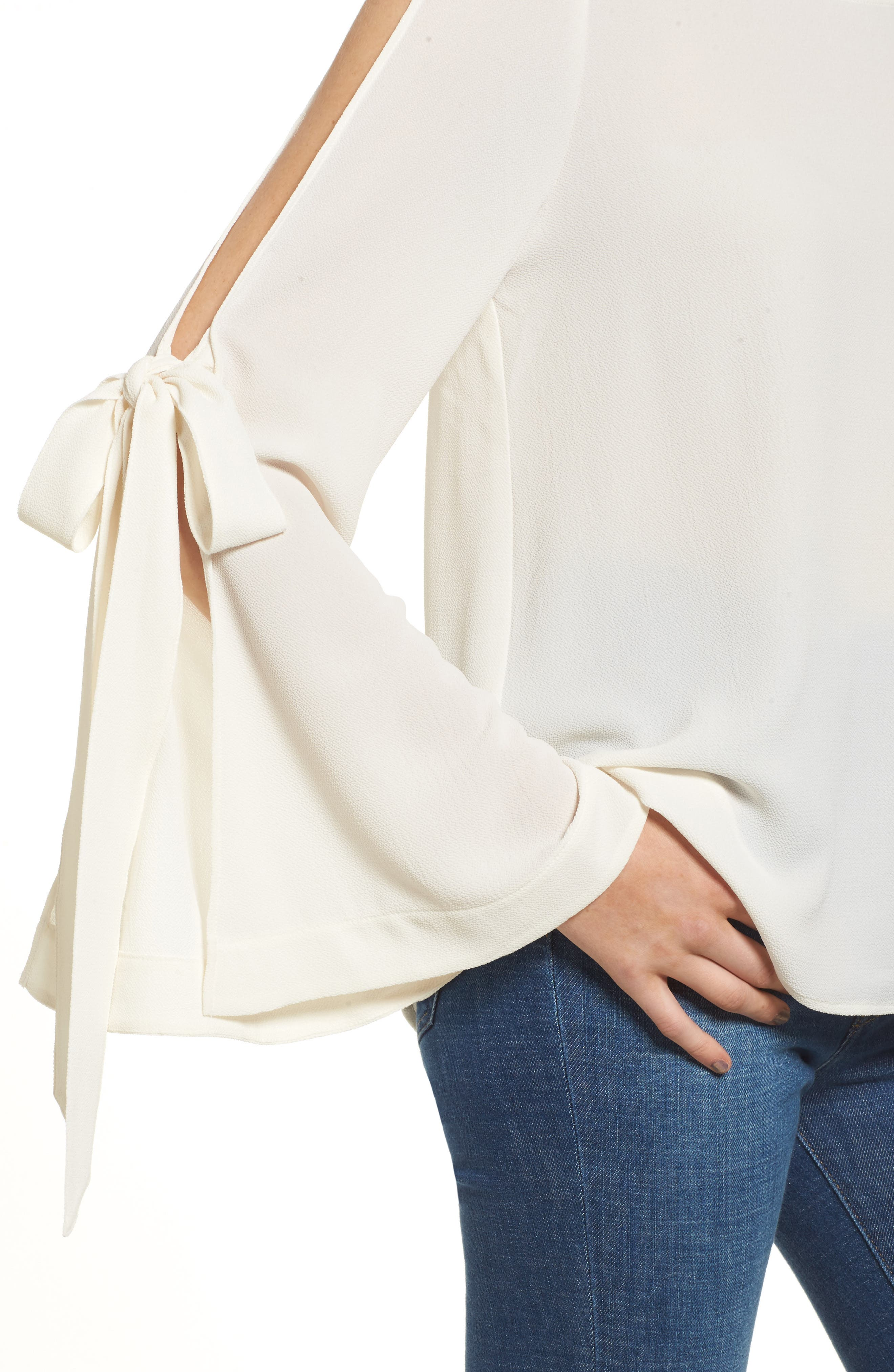 Tie Sleeve Blouse,                             Alternate thumbnail 4, color,                             Ivory Egret
