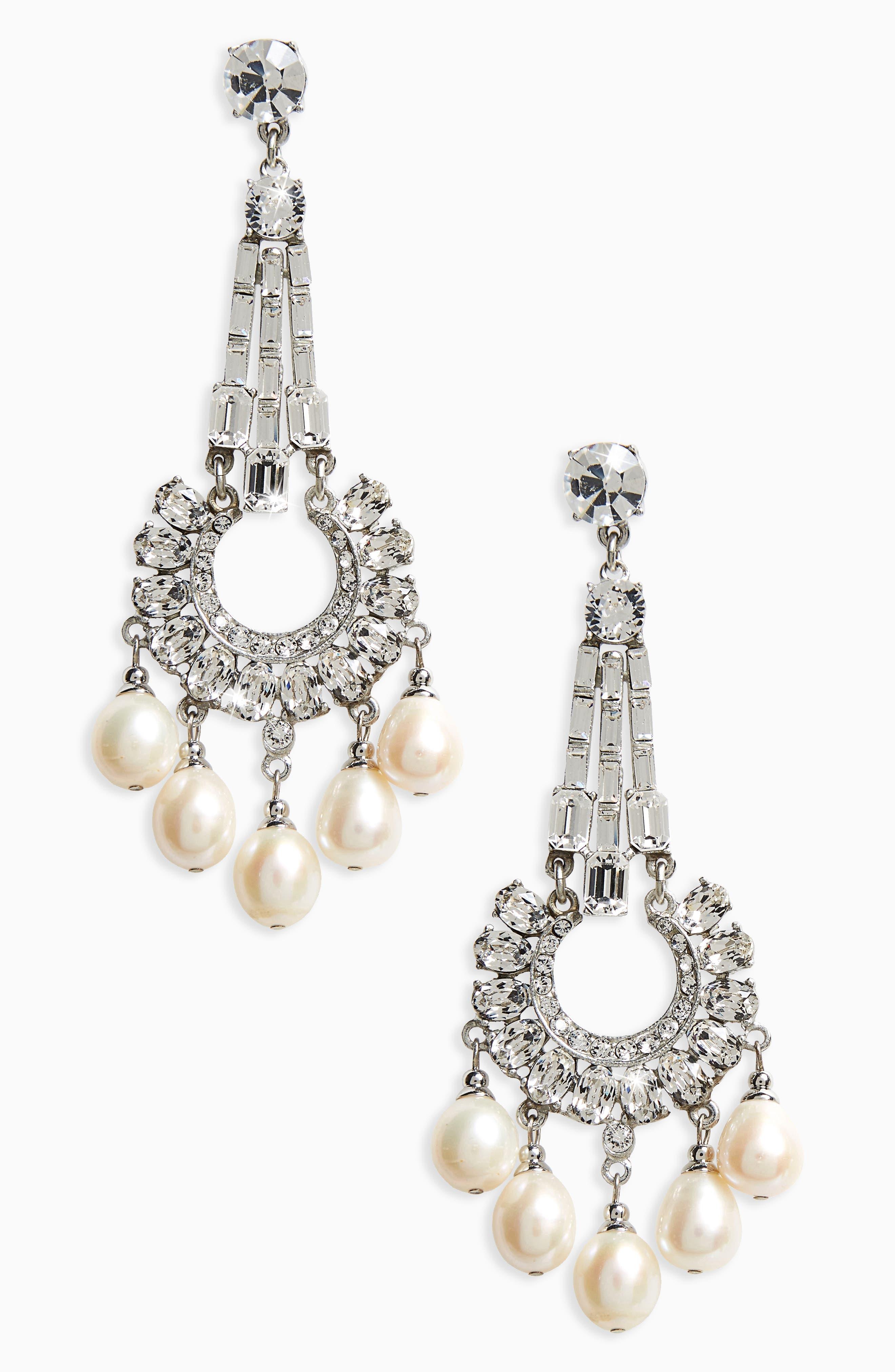 Imitation Pearl & Crystal Drop Earrings,                             Main thumbnail 1, color,                             Ivory / Silver