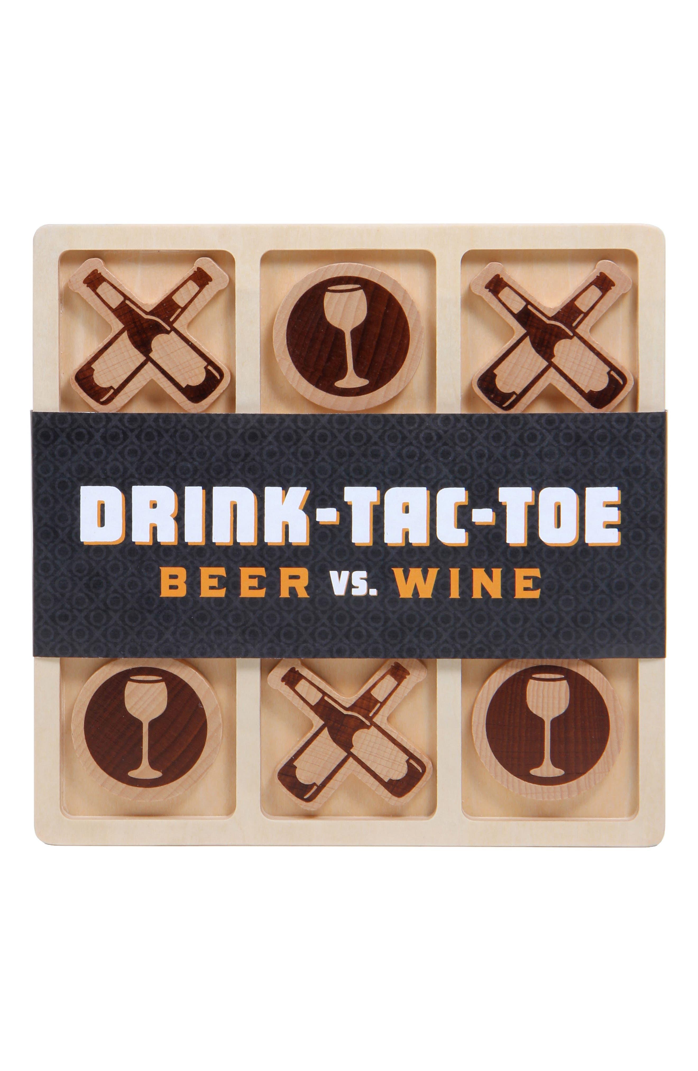 Drink Tac Toe Beer vs. Wine Game,                         Main,                         color, Brown