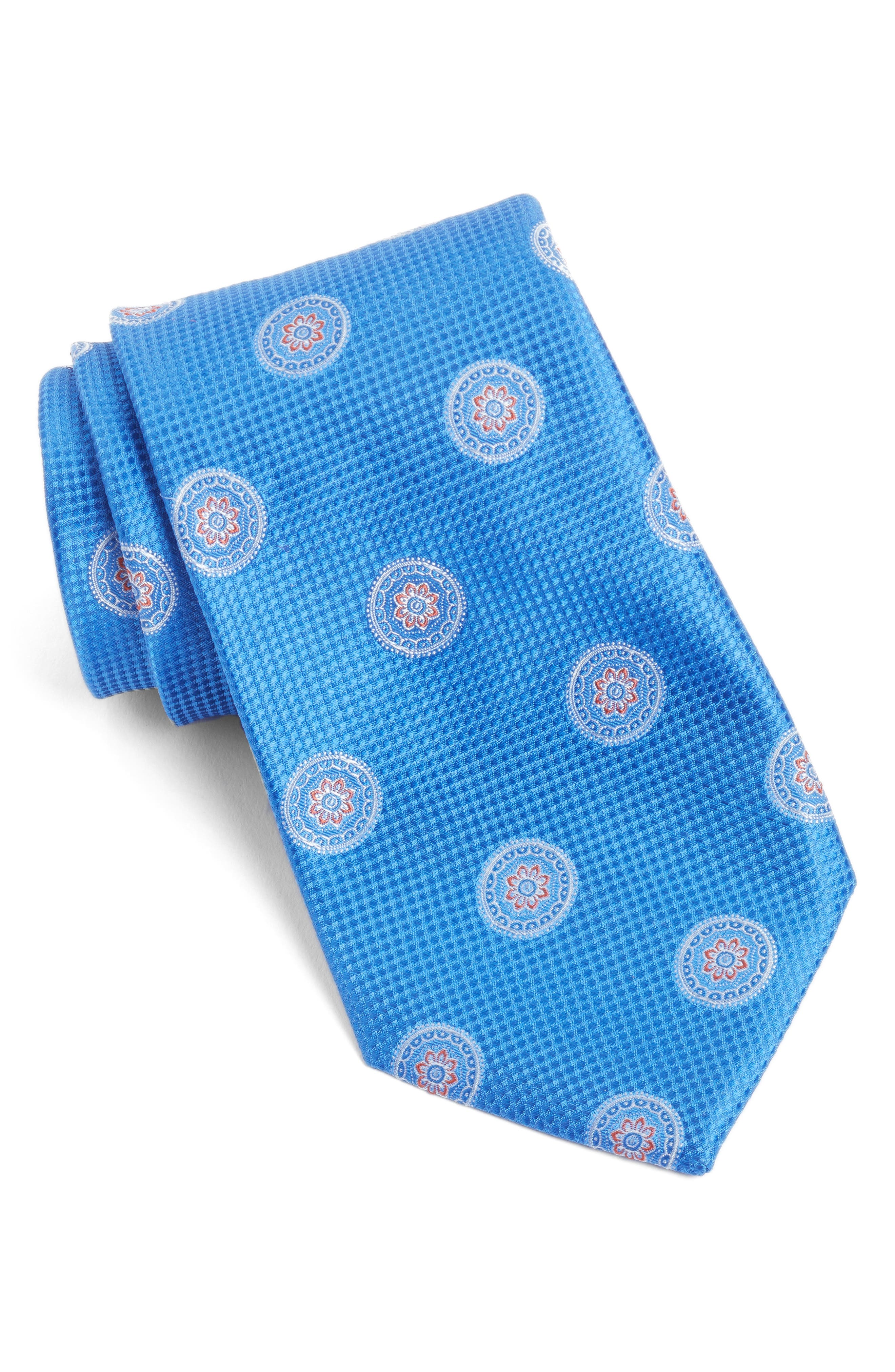 Circular Medallion Silk Tie,                             Main thumbnail 1, color,                             Blue